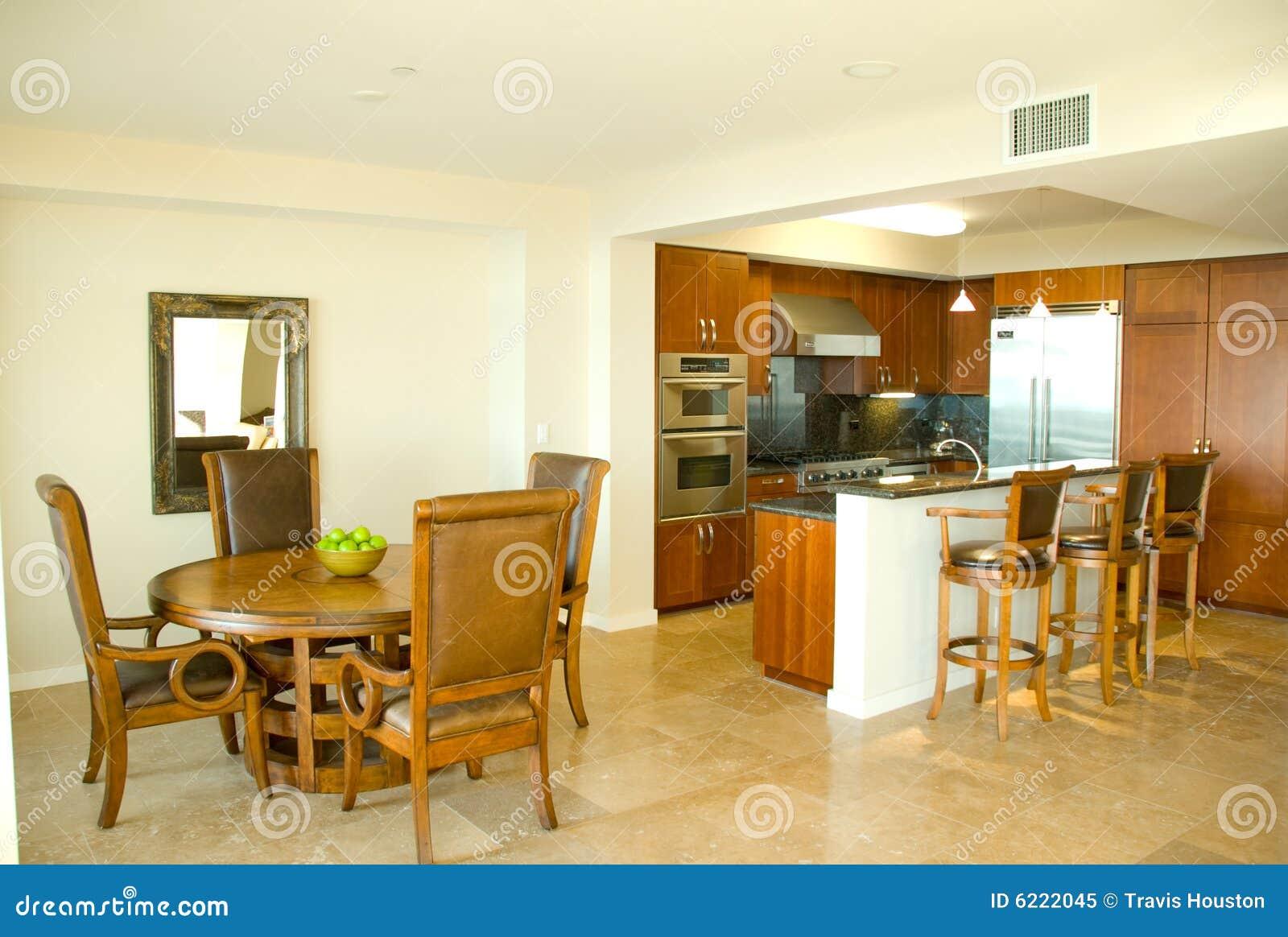 Cozinha E Sala De Jantar Do Desenhador Do Gourmet Imagem De Stock