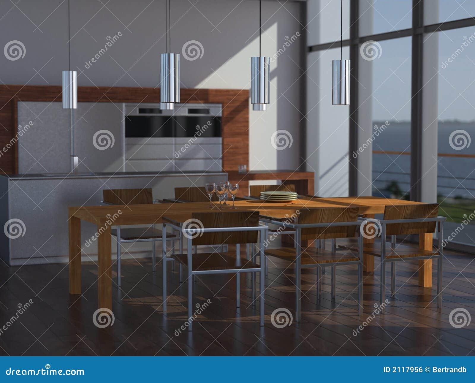 Cozinha E Sala De Jantar Luxuosas Imagem de Stock Royalty Free  #88613E 1300 1065