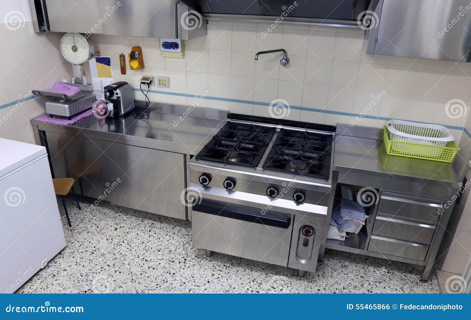 Cozinha Industrial Com O Fog O De A O Enorme Foto De Stock Imagem