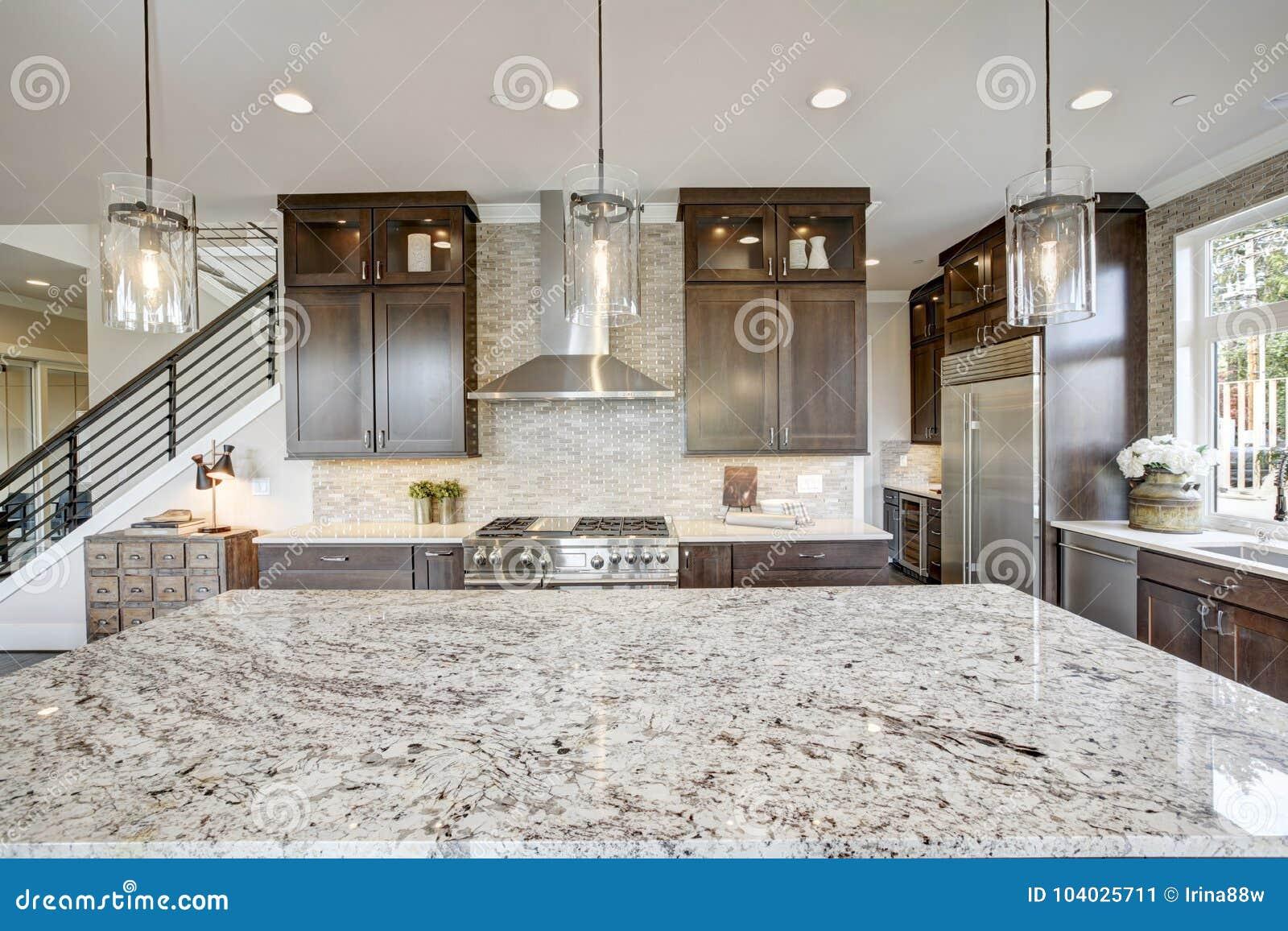 Cozinha luxuosa em uma casa da construção nova