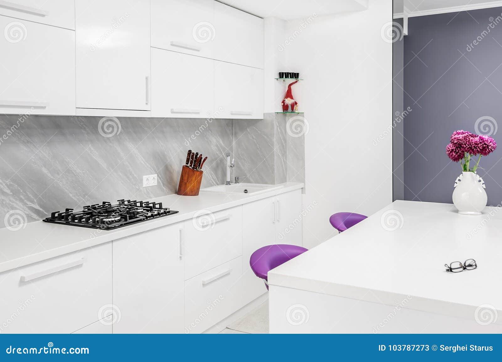 Cozinha Moderna Com As Cadeiras Da Mesa De Jantar E Do Roxo Imagem