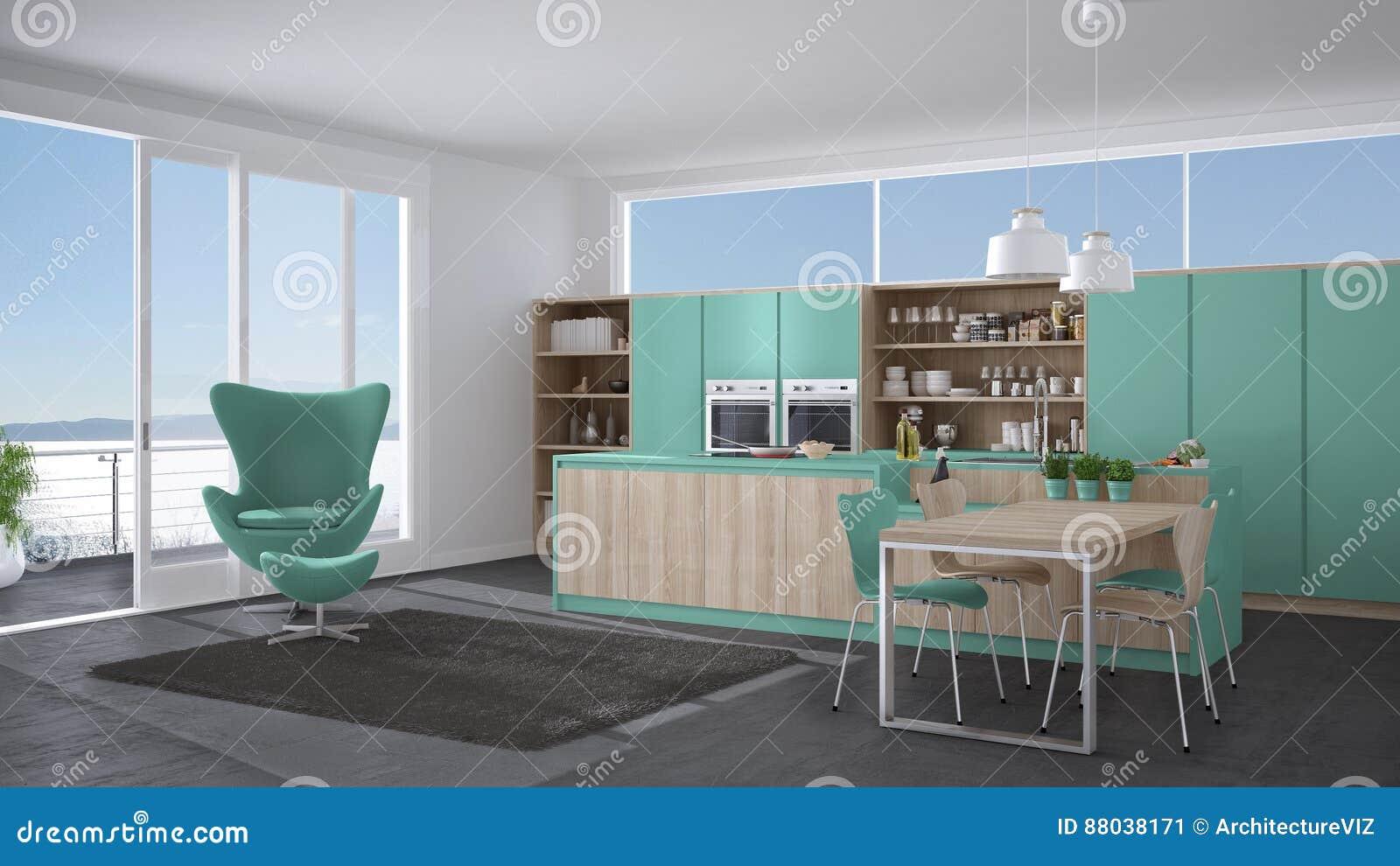 Cozinha Moderna Com Detalhes De Madeira Windo Grande Do Cinza E Da