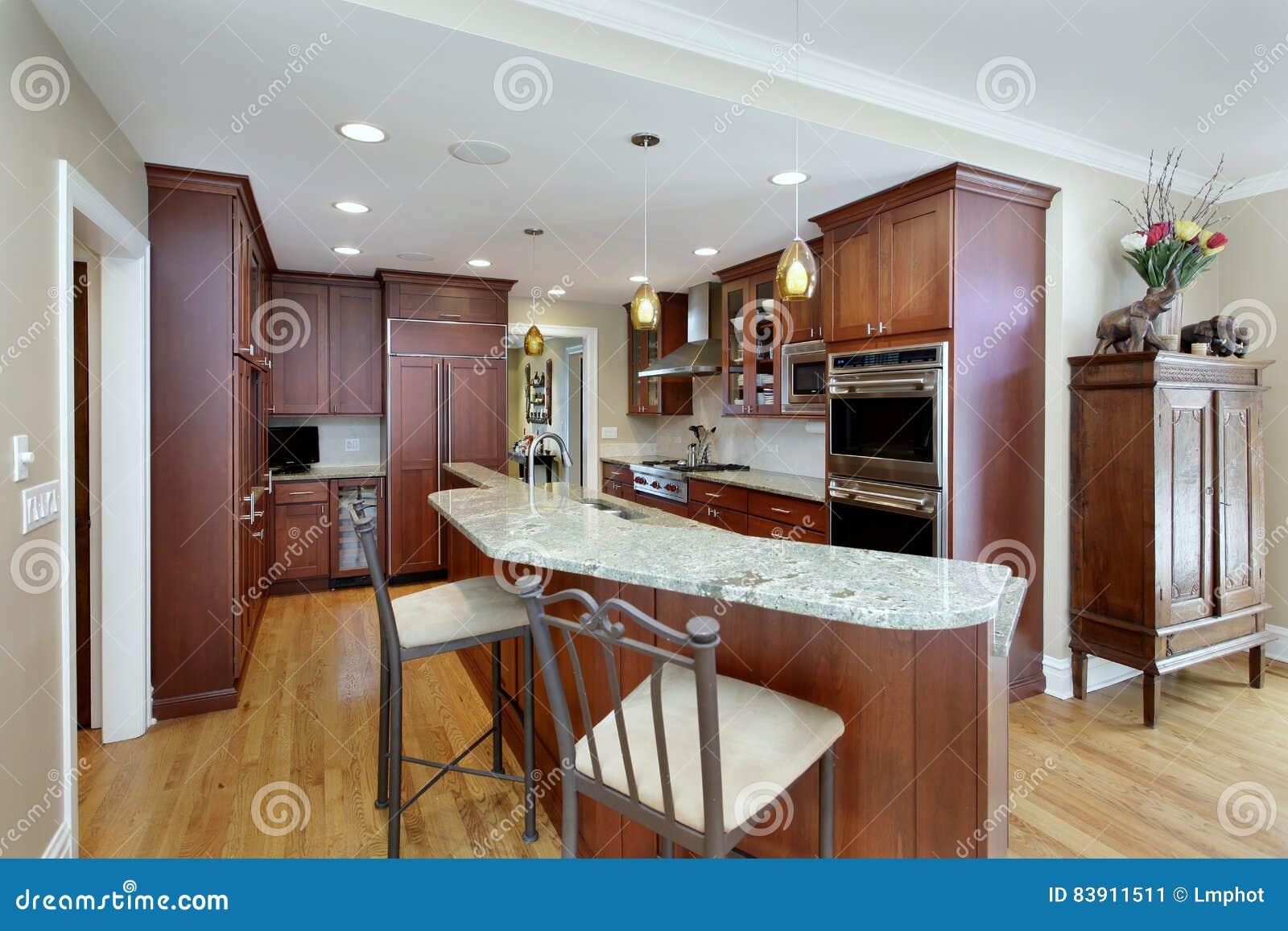 Cozinha Moderna Com Ilha Do Nibus De Dois Andares Imagem De Stock