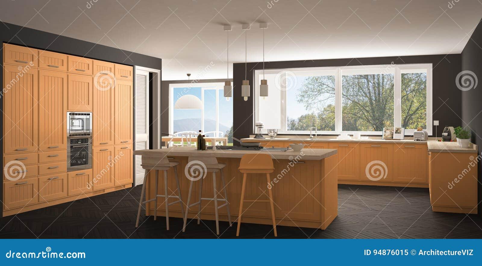 Cozinha Moderna Com Janelas Grandes Panorama Gr Cl Ssica De