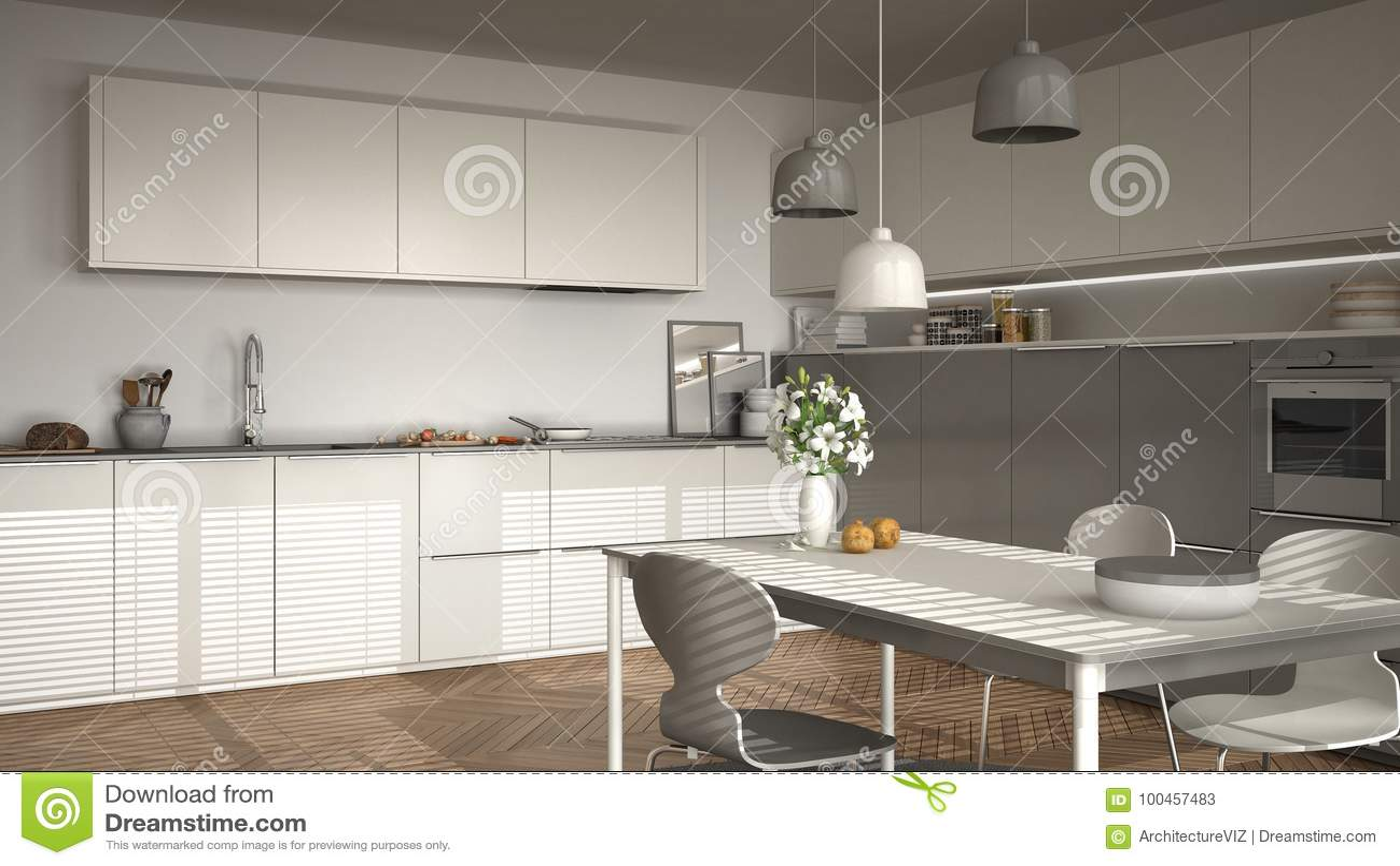 Cozinha Moderna Com Tabela E Cadeiras Janelas Grandes E Herringbon