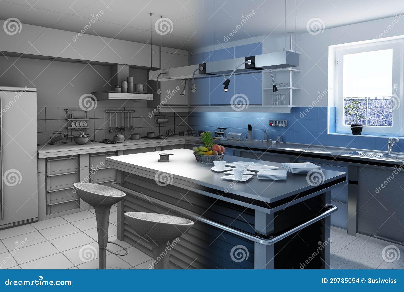 Cozinha moderna com um bloco da cozinha. #82A328 1300 957