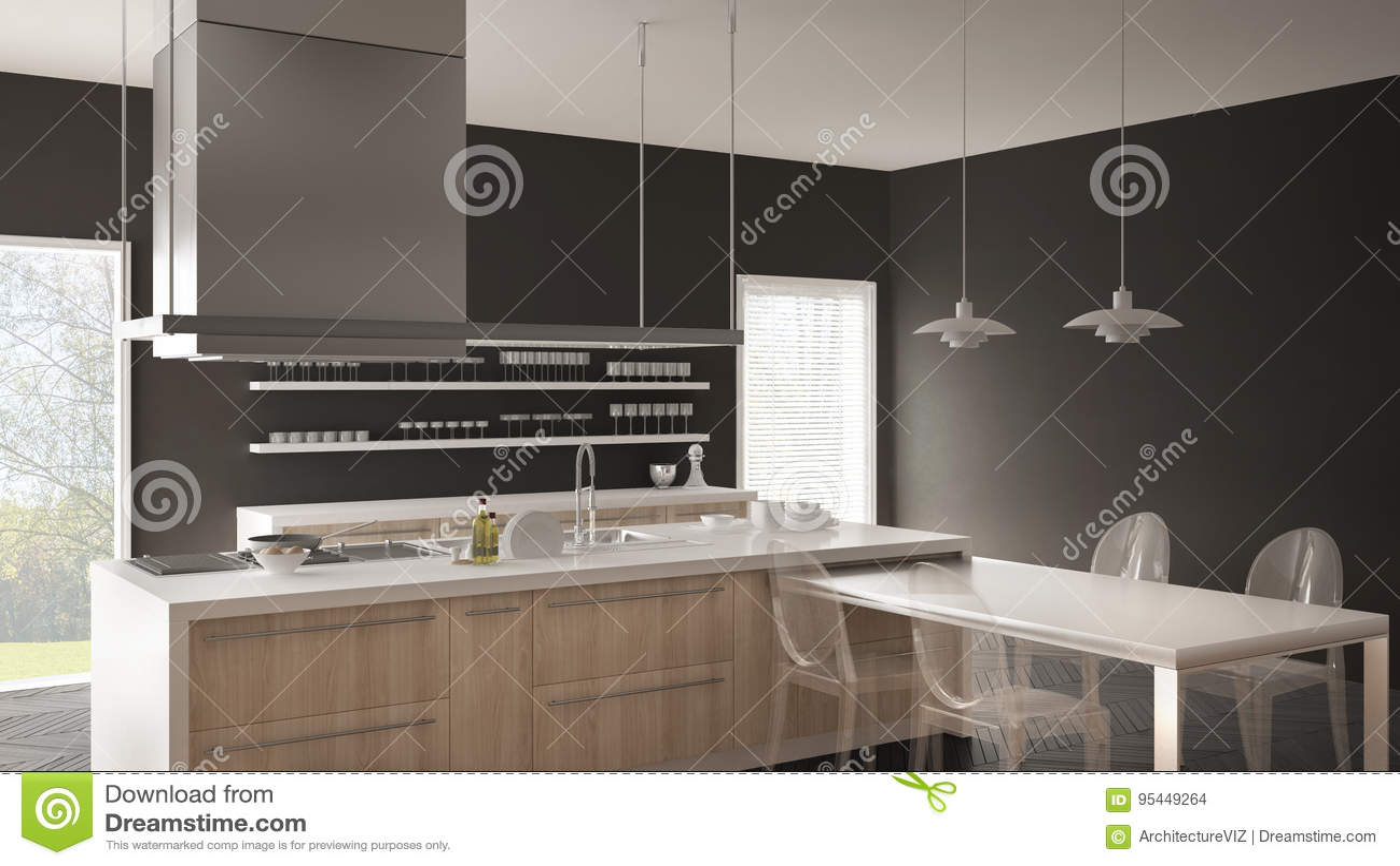 Cozinha Moderna De Minimalistic Com Tabela Cadeiras E Assoalho De
