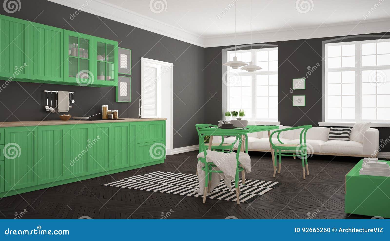 Cozinha Moderna Minimalista Com Mesa De Jantar E Sala De Visitas