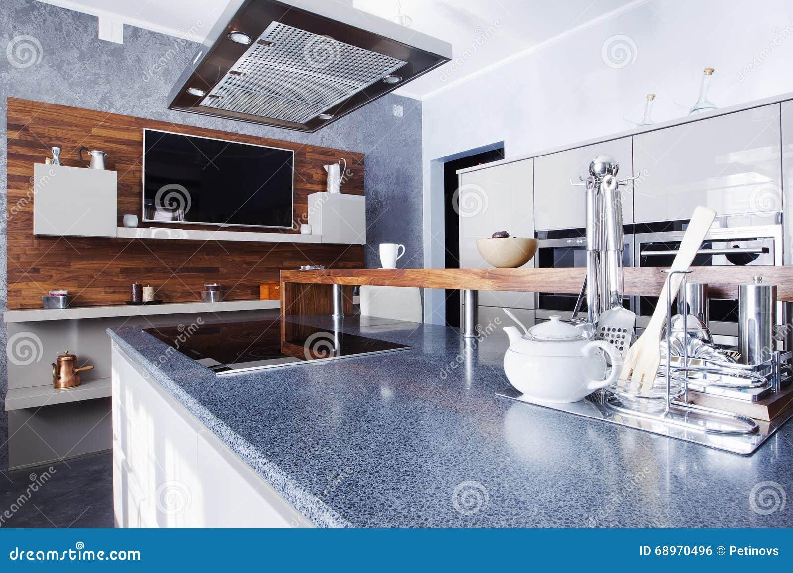 Cozinha Moderna Na Mans O Luxuosa Foto De Stock Imagem De  ~ Mansões Por Dentro Cozinha