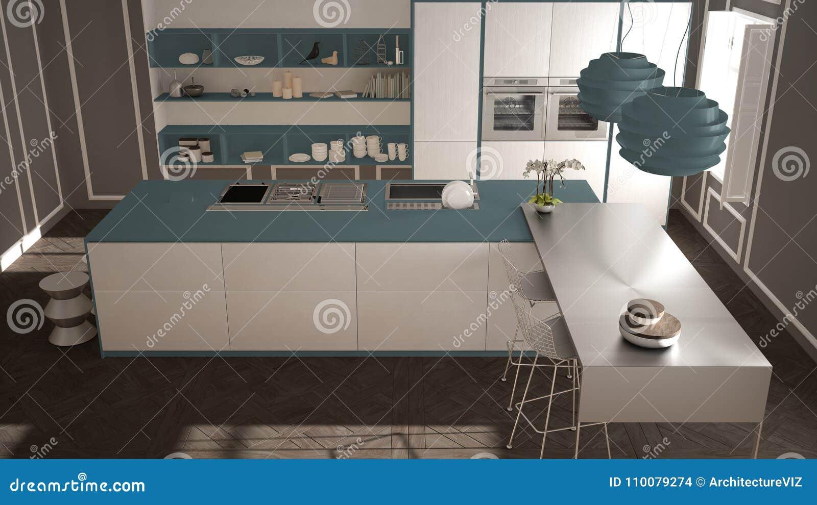 Cozinha Moderna No Interior Cl Ssico Ilha Com Tamboretes E Dois