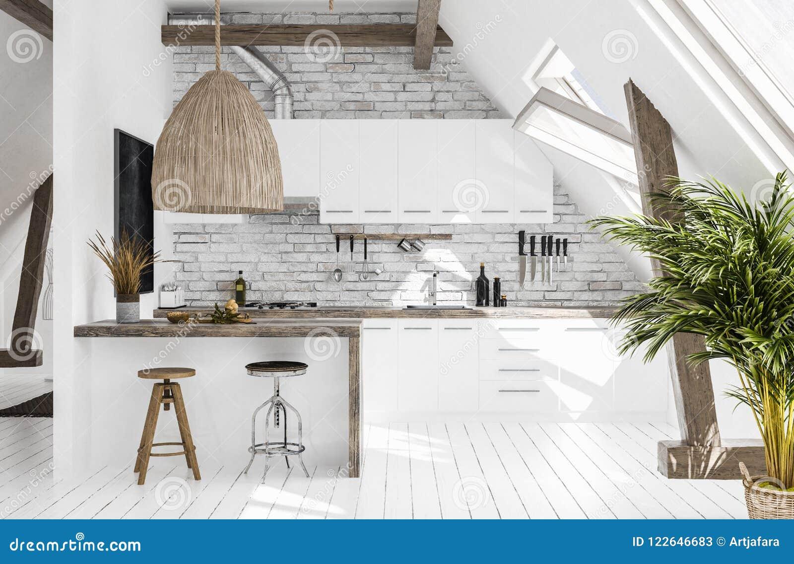 Cozinha moderna no sótão, estilo de Scandi-boho