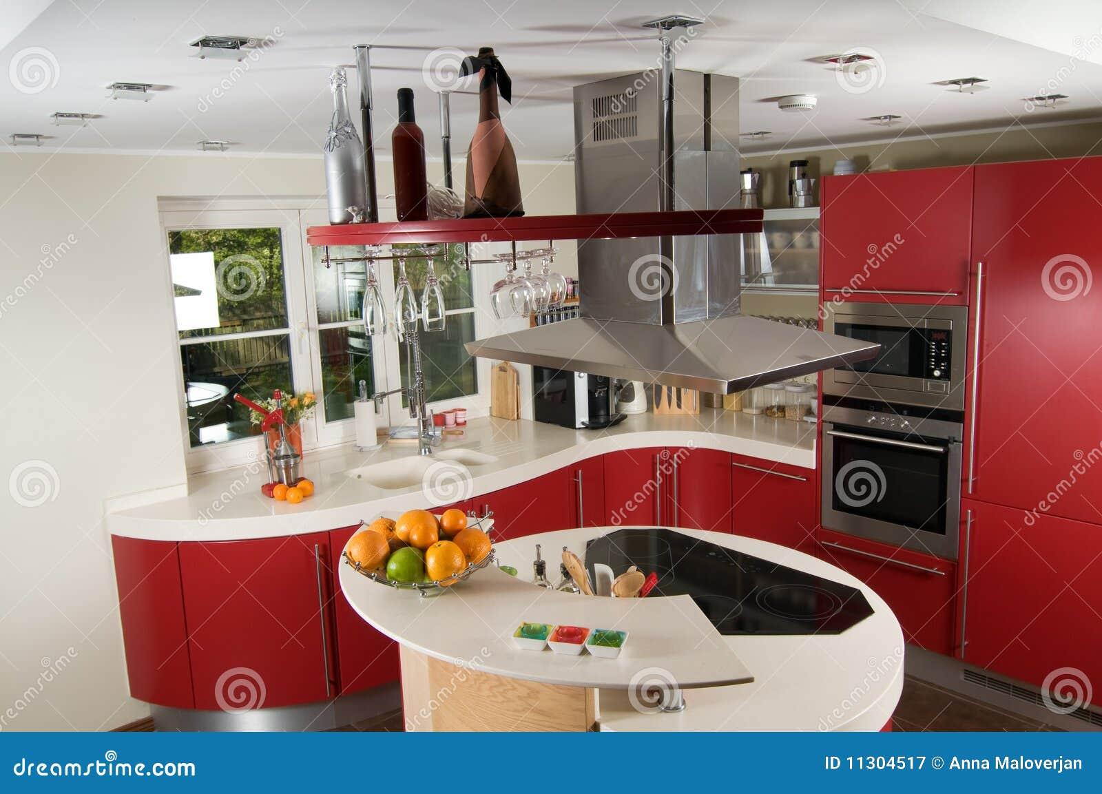 Cozinha Moderna Vermelha Fotografia de Stock Royalty Free Imagem  #B1681A 1300 953