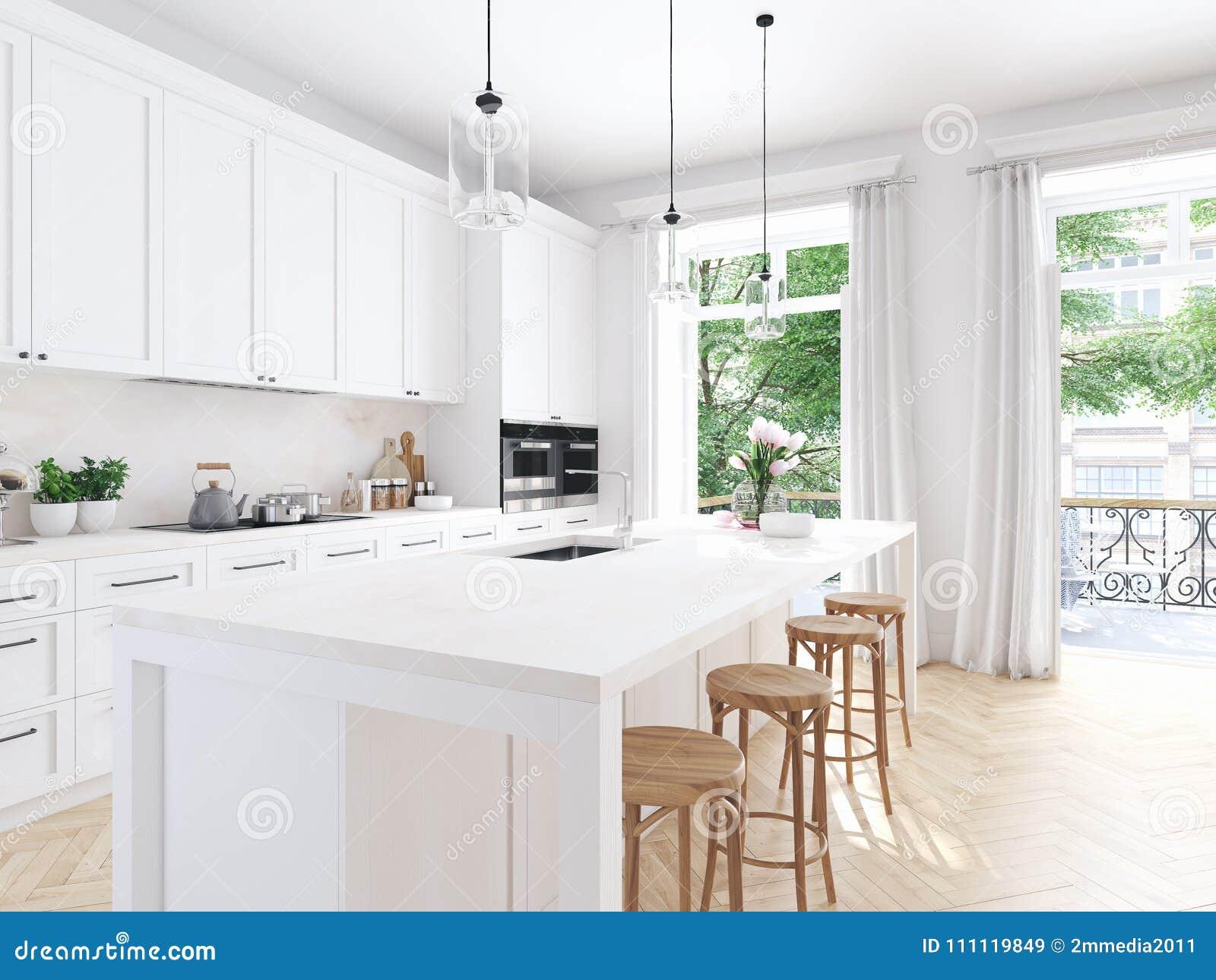 Cozinha N Rdica Moderna No Apartamento Do S T O Rendi O 3d