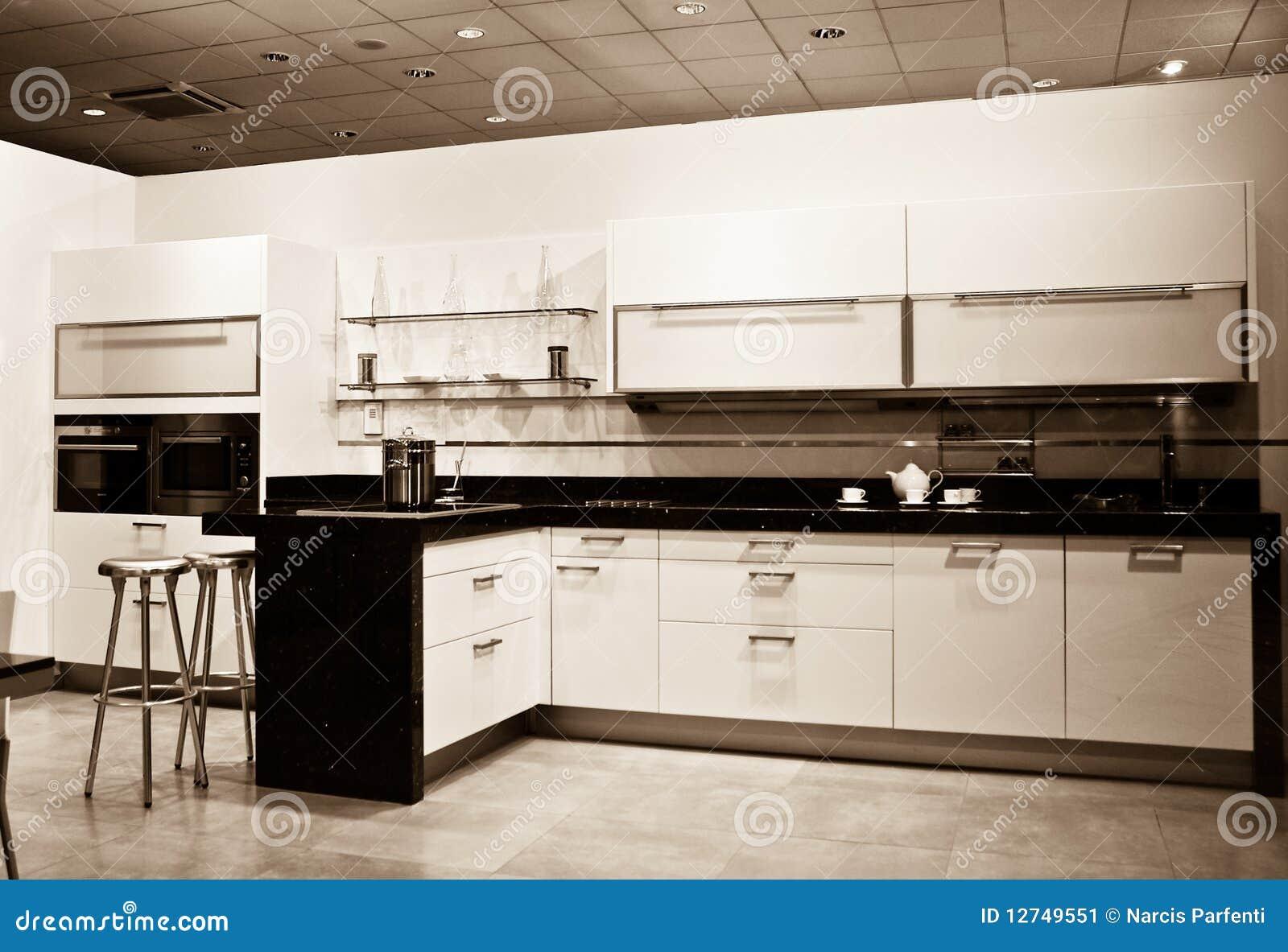 Cozinha Nova Tiro Do Sepia Imagem de Stock Imagem: 12749551 #85A922 1300 978