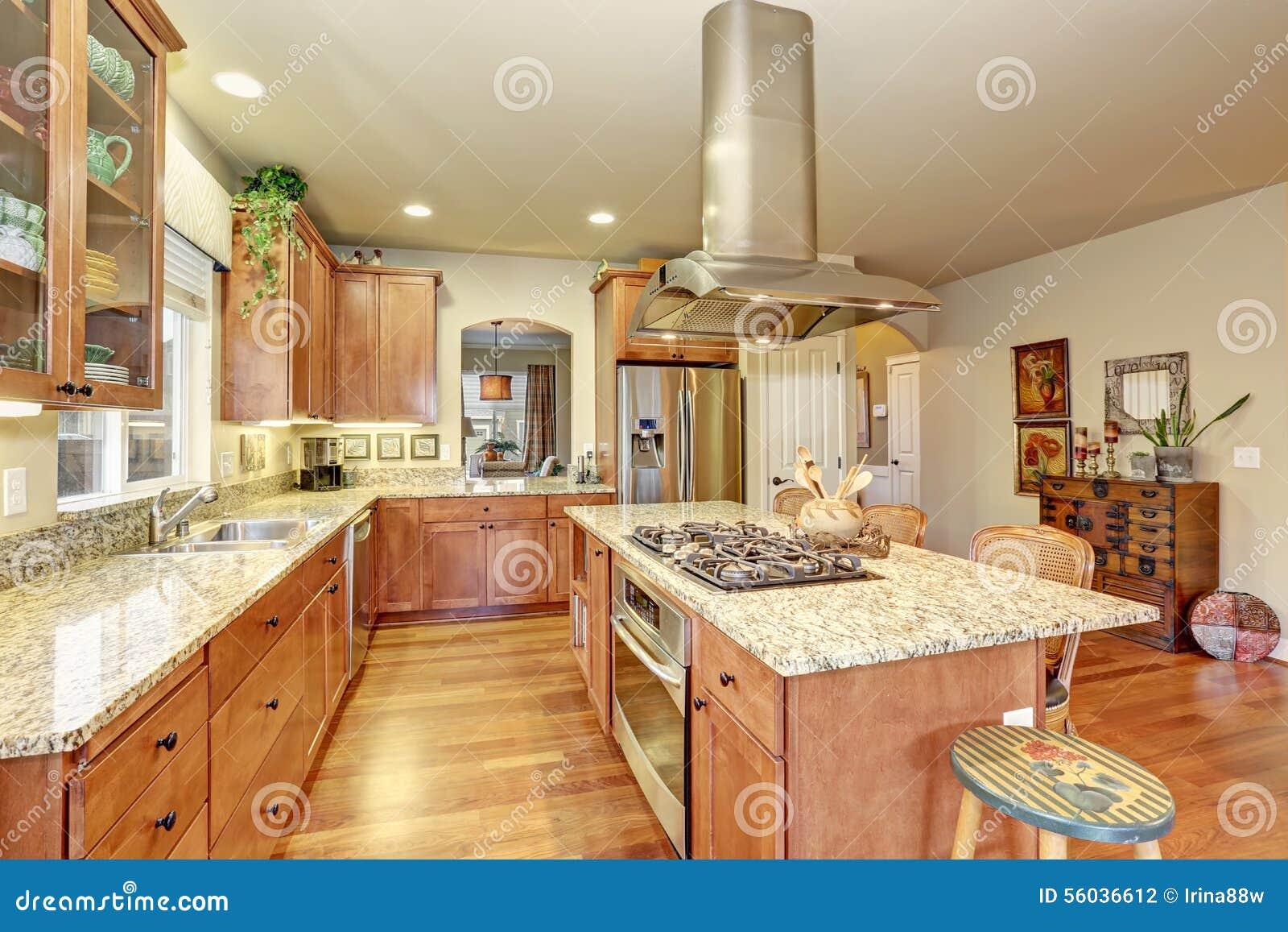 Cozinha Perfeita Com Assoalho E Ilha De Folhosa Foto De Stock