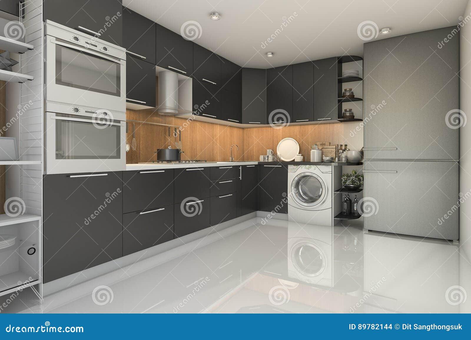 Cozinha Preta Moderna Do S T O Da Rendi O 3d Com M Quina De Lavar