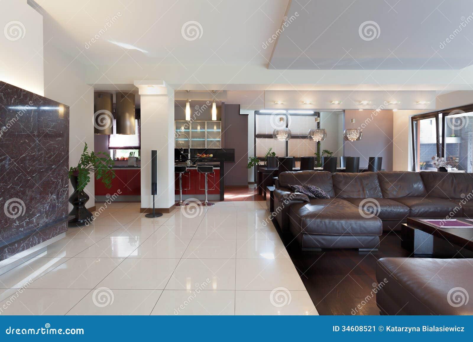 Cozinha Sala De Visitas E Sala De Jantar Imagem de Stock Imagem  #745E4E 1300 957