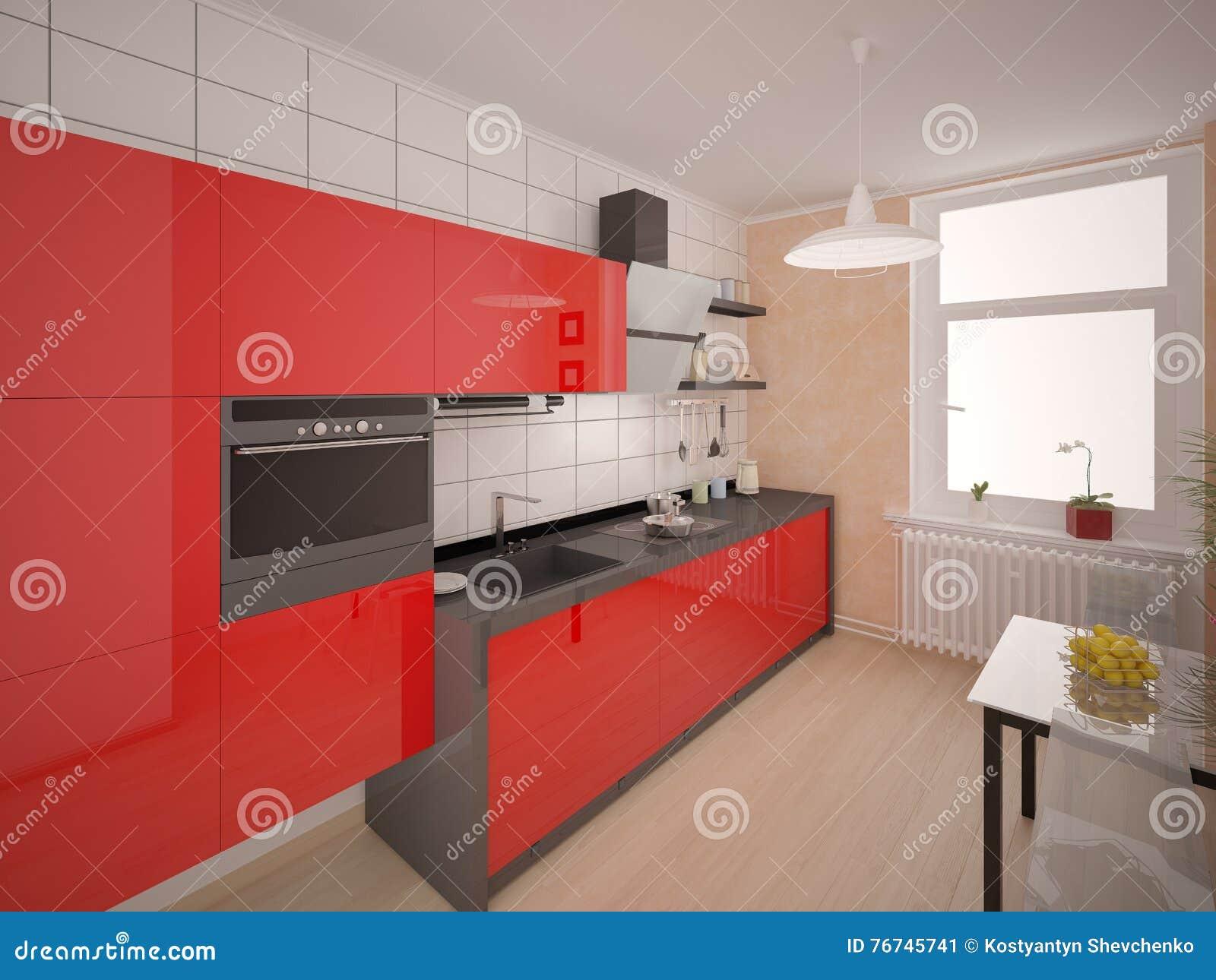 Cozinha Vermelha Moderna Compacta Ilustra O Stock Ilustra O De