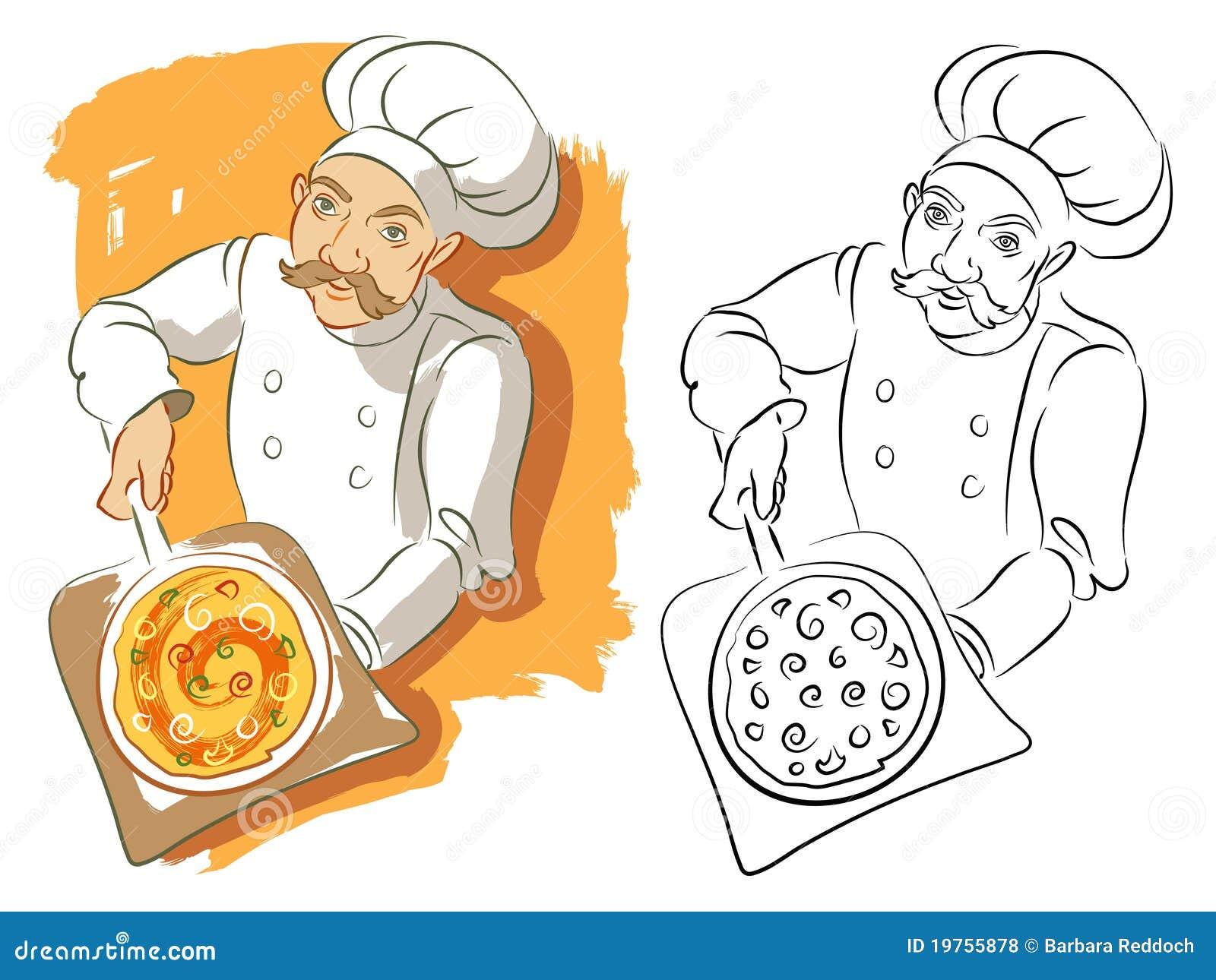 Cozinheiro chefe da pizza na cor mais a versão preto e branco