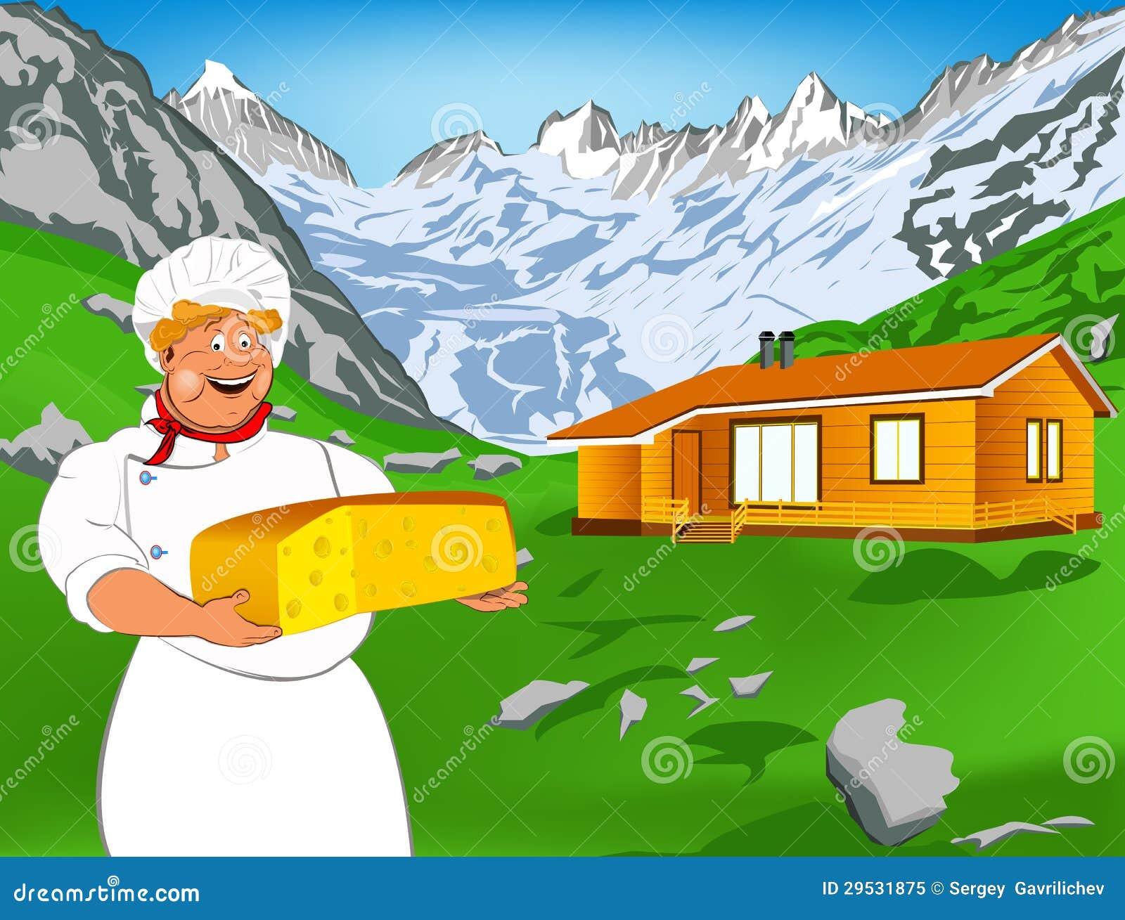 Cozinheiro chefe engraçado e queijo suíço natural da leiteria