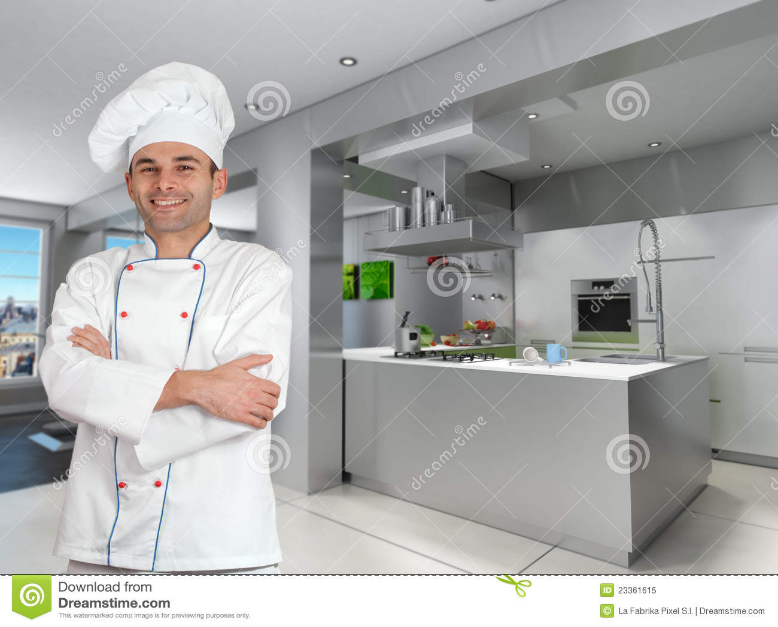 Cozinheiro Chefe Na Cozinha Industrial Fresca Foto de Stock Royalty  #486737 1300 1065