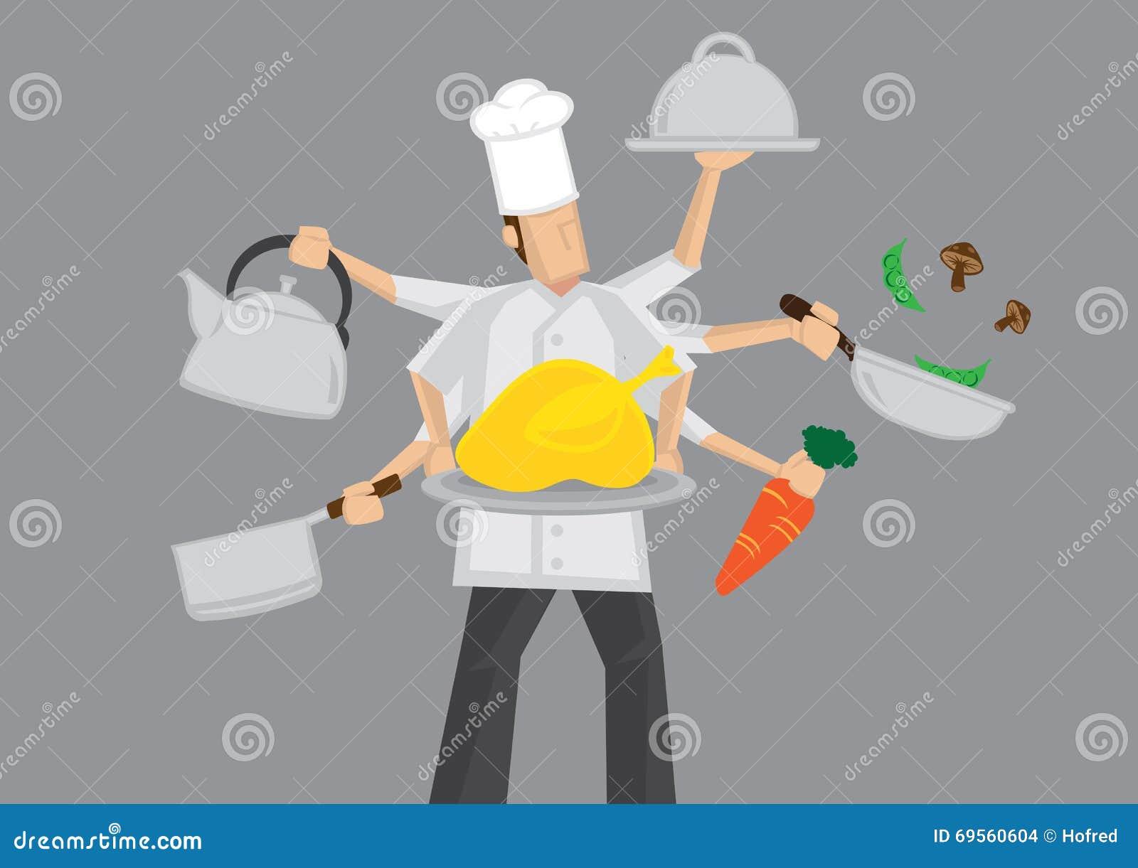 Cozinheiro chefe ocupado Cartoon Vetora Illustration