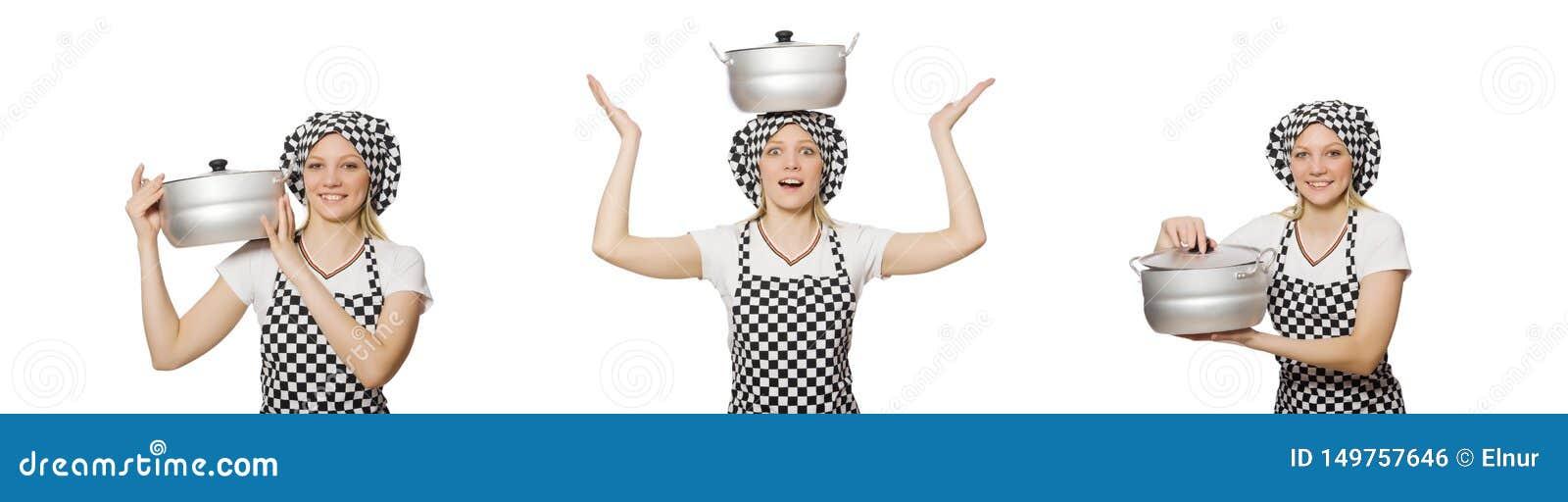 Cozinheiro da mulher isolado no fundo branco