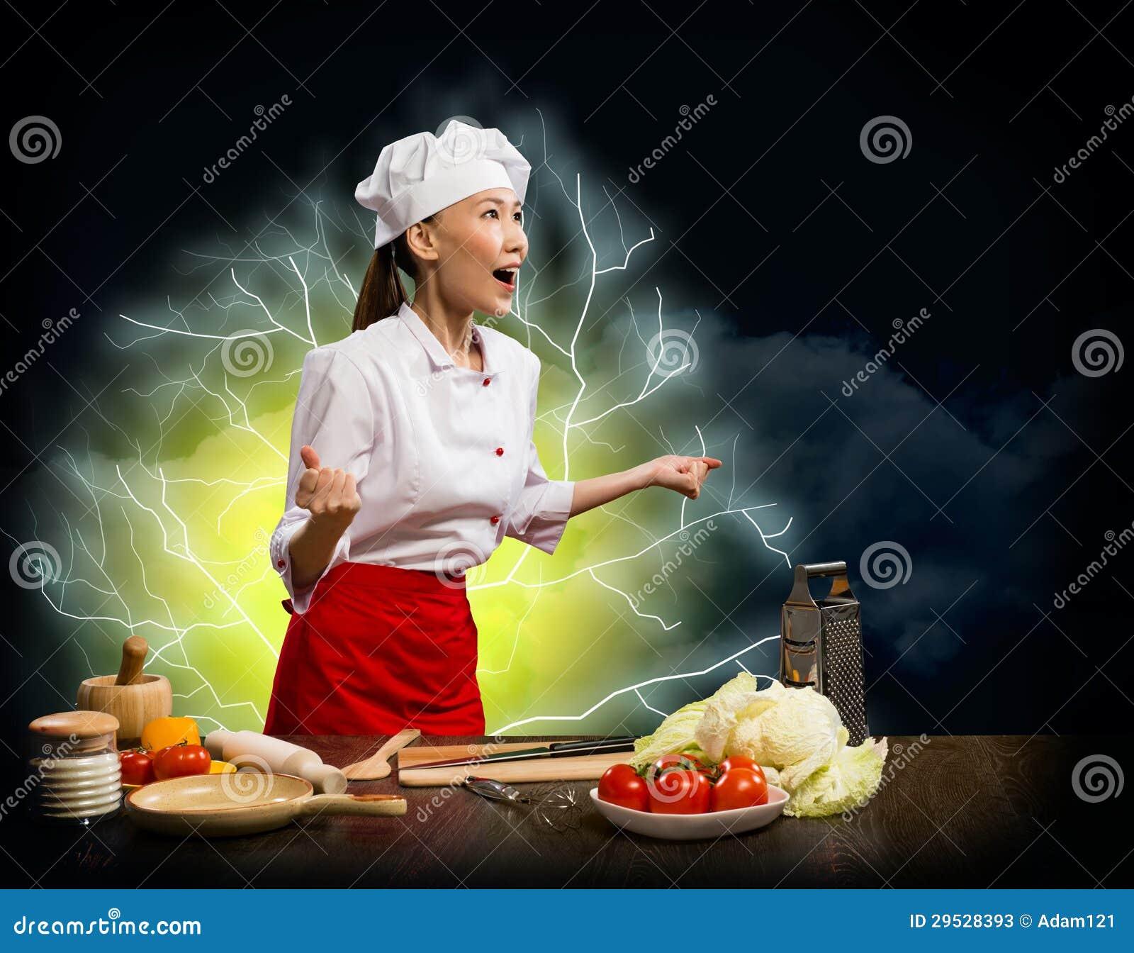 Cozinheiro furioso da mulher asiática, colagem