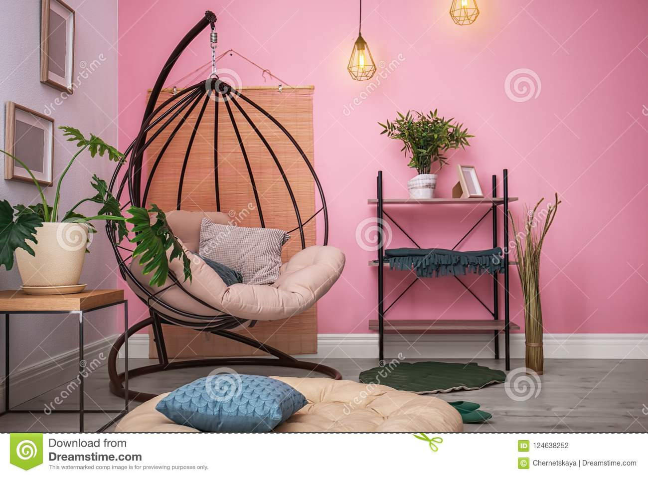 Cozy Apartment With Hanging Chair Near Wall Stock Photo Image Of