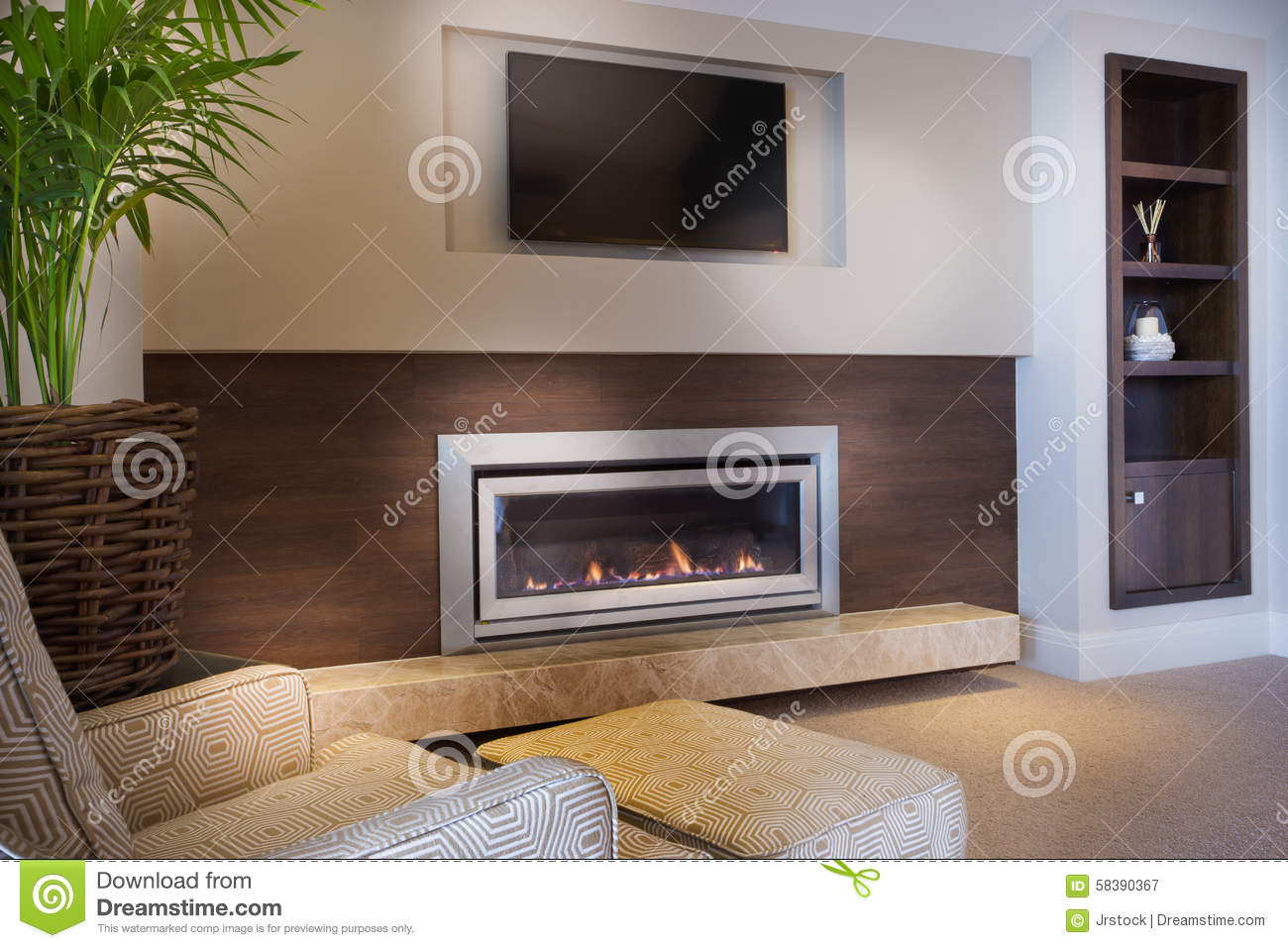 Cozy Armchair In Front A Fireplace Stock Image Image