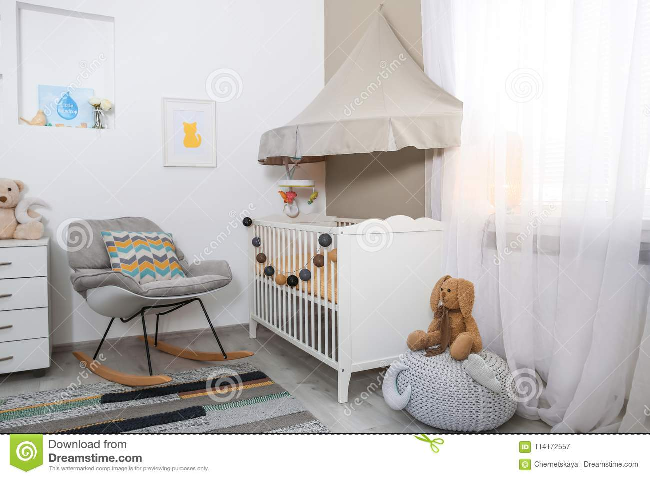Cozy Baby Room Interior With Crib Stock Image Image Of Estate Decor 114172557