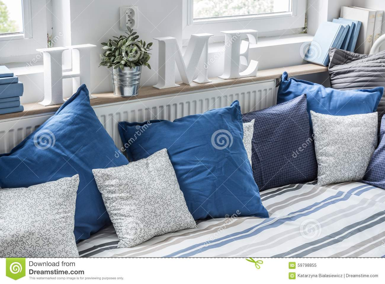 Cozy Bed With Pillows Stock Photo Image 59798855