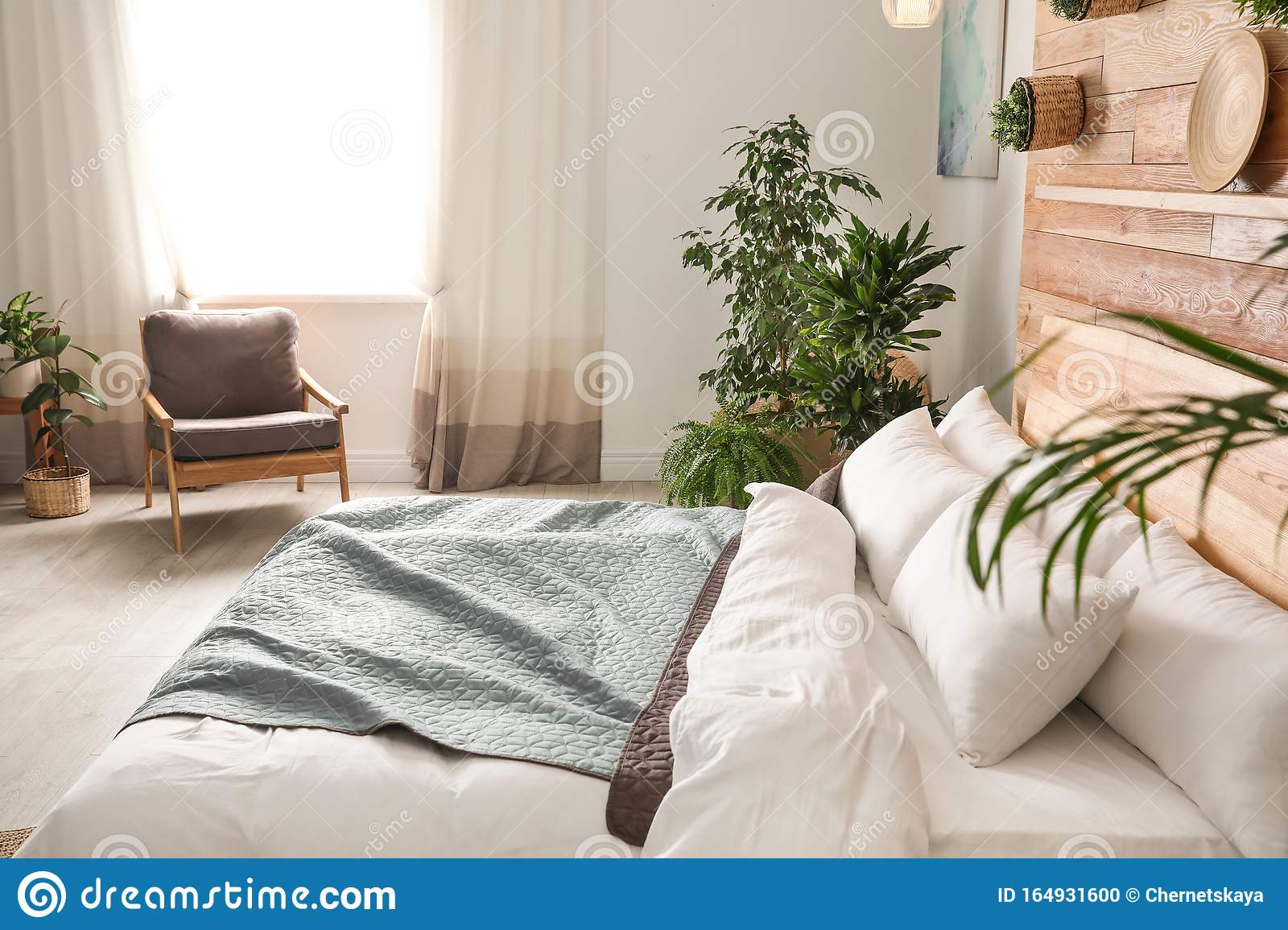 Cozy Bedroom Decorated With Plants Home Design Ideas Stock Photo Image Of Fresh Decor 164931600