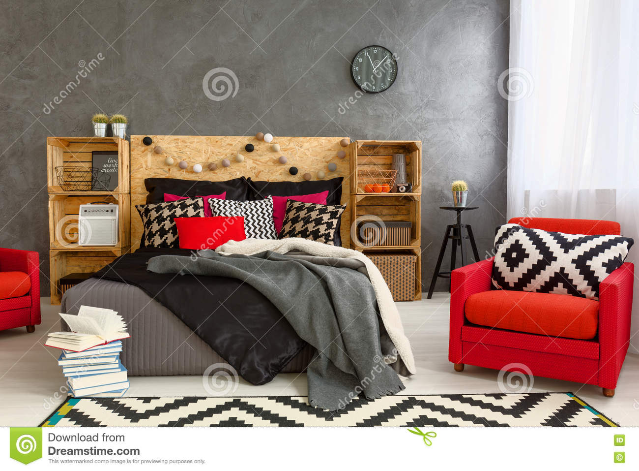 Cozy Bedroom In Grey With Beautiful Home Decorations Stock