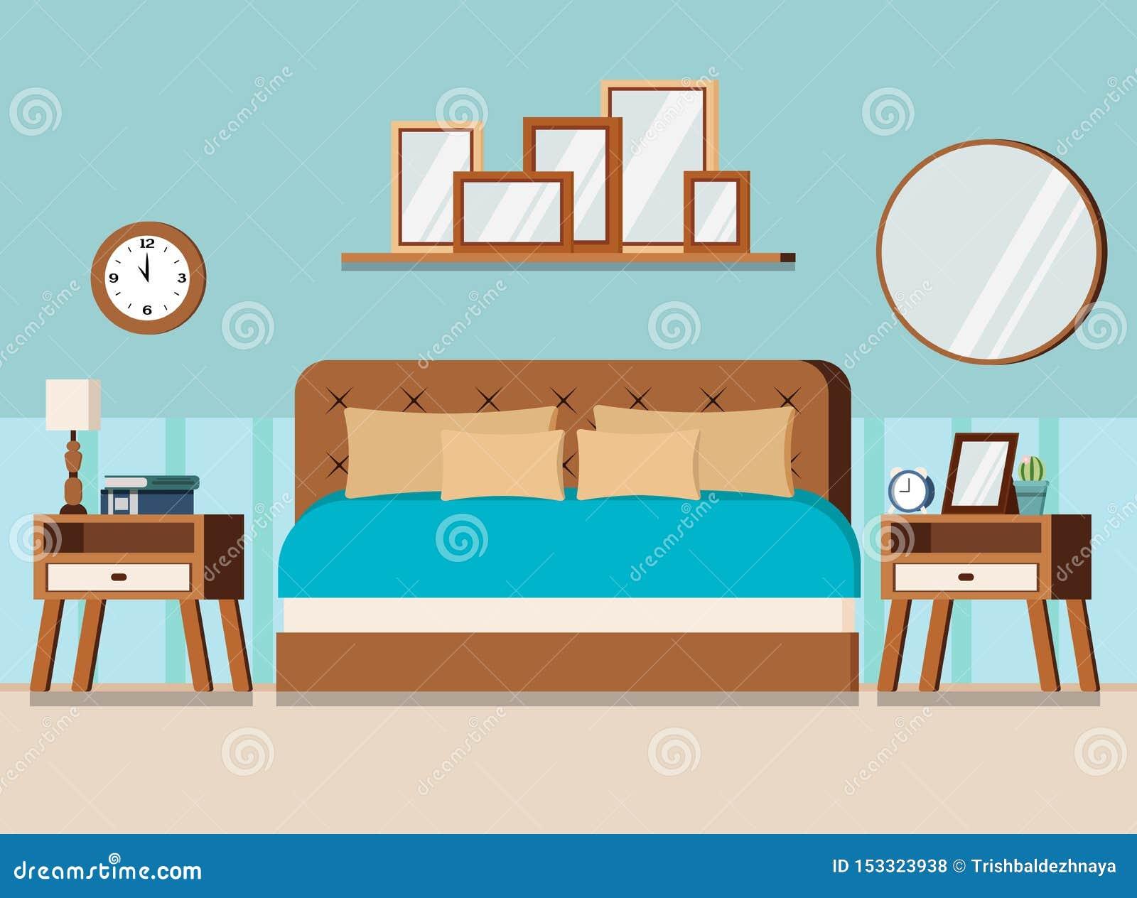 Cozy Bedroom Interior Scene With Furniture Bed Nightstands