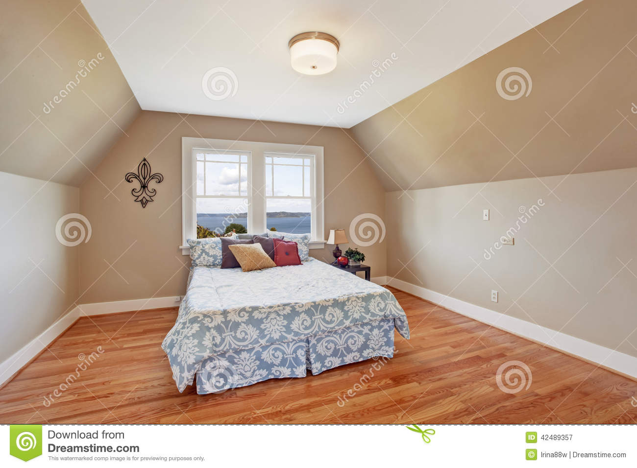 Cozy Bedroom Interior With Vaulted Ceiling