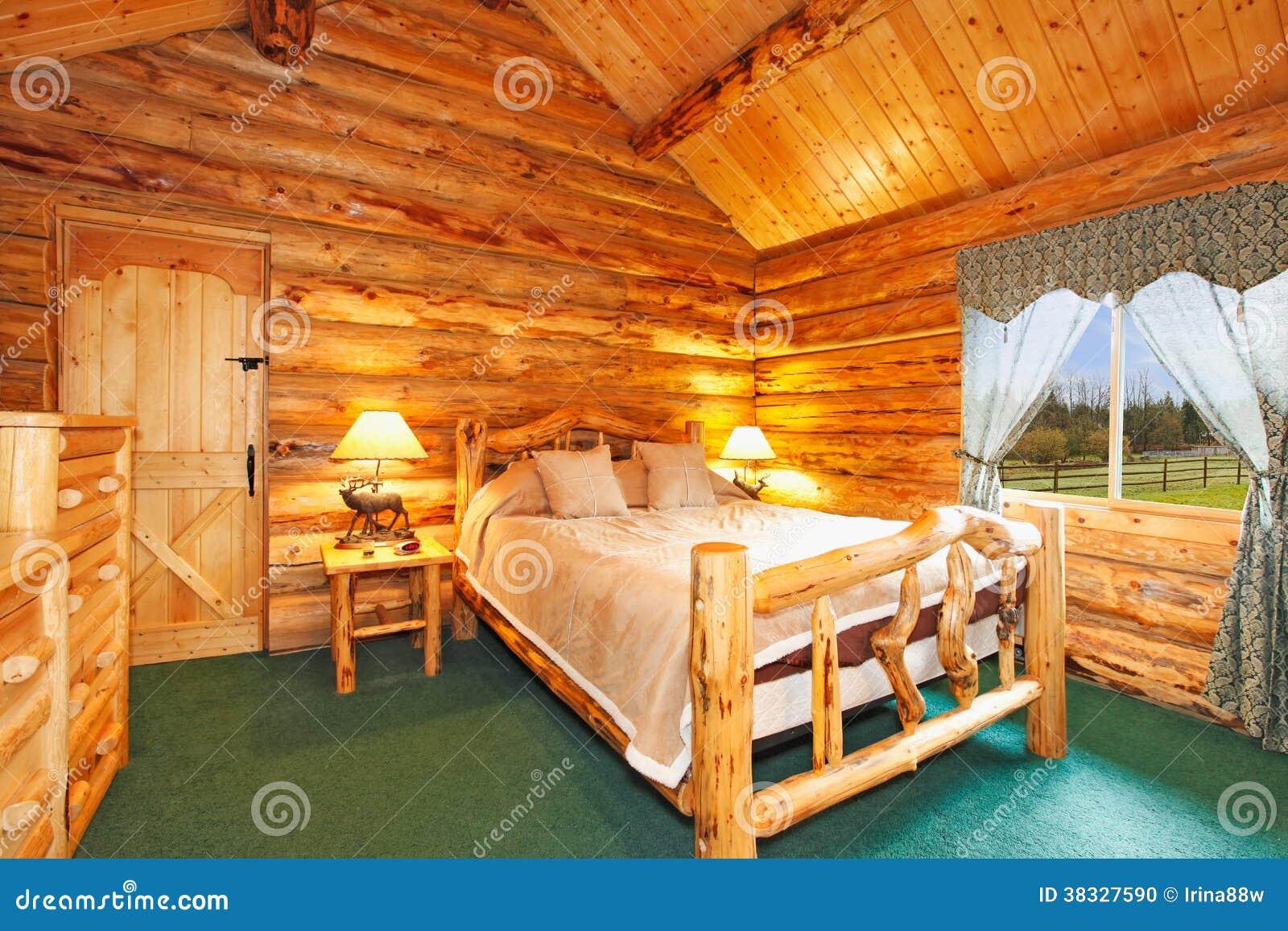 Cozy Bedroom In Log Cabin House Stock Photo Image 38327590