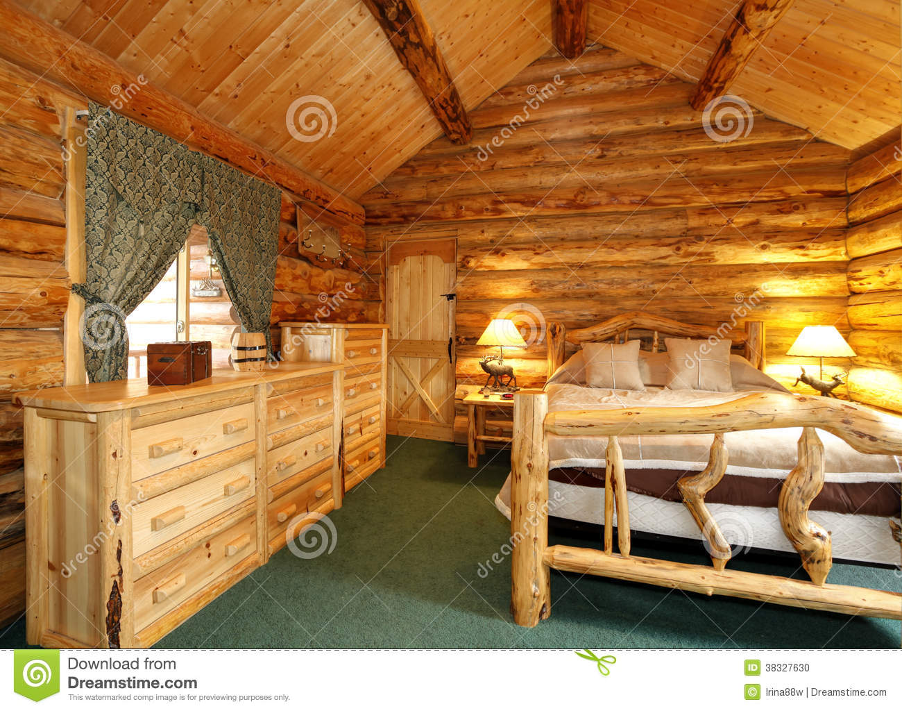 Cozy bedroom at night - Cozy Bedroom In Log Cabin House