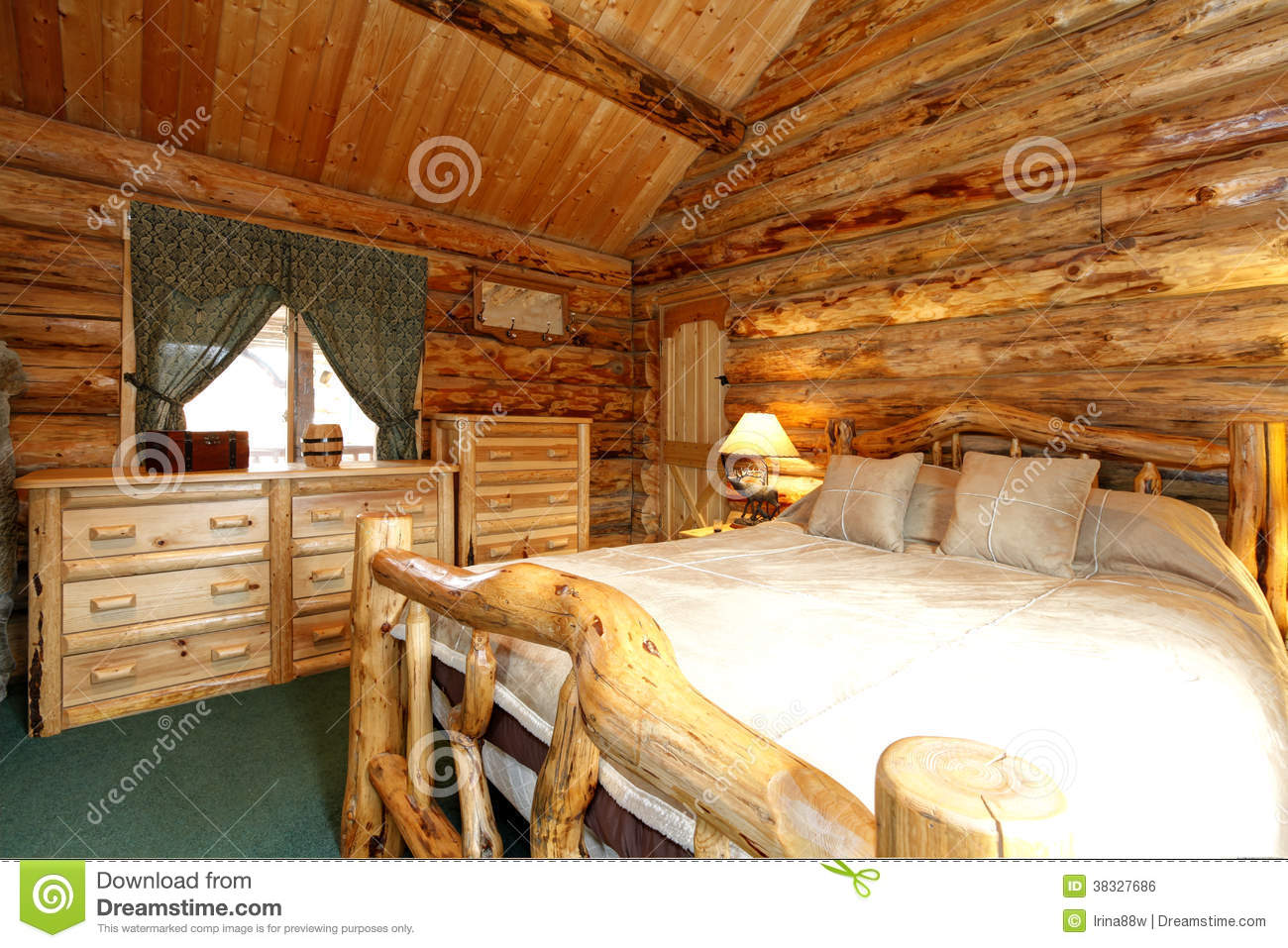 Cozy bedroom in log cabin house royalty free stock image - Imagenes de cabanas de madera ...