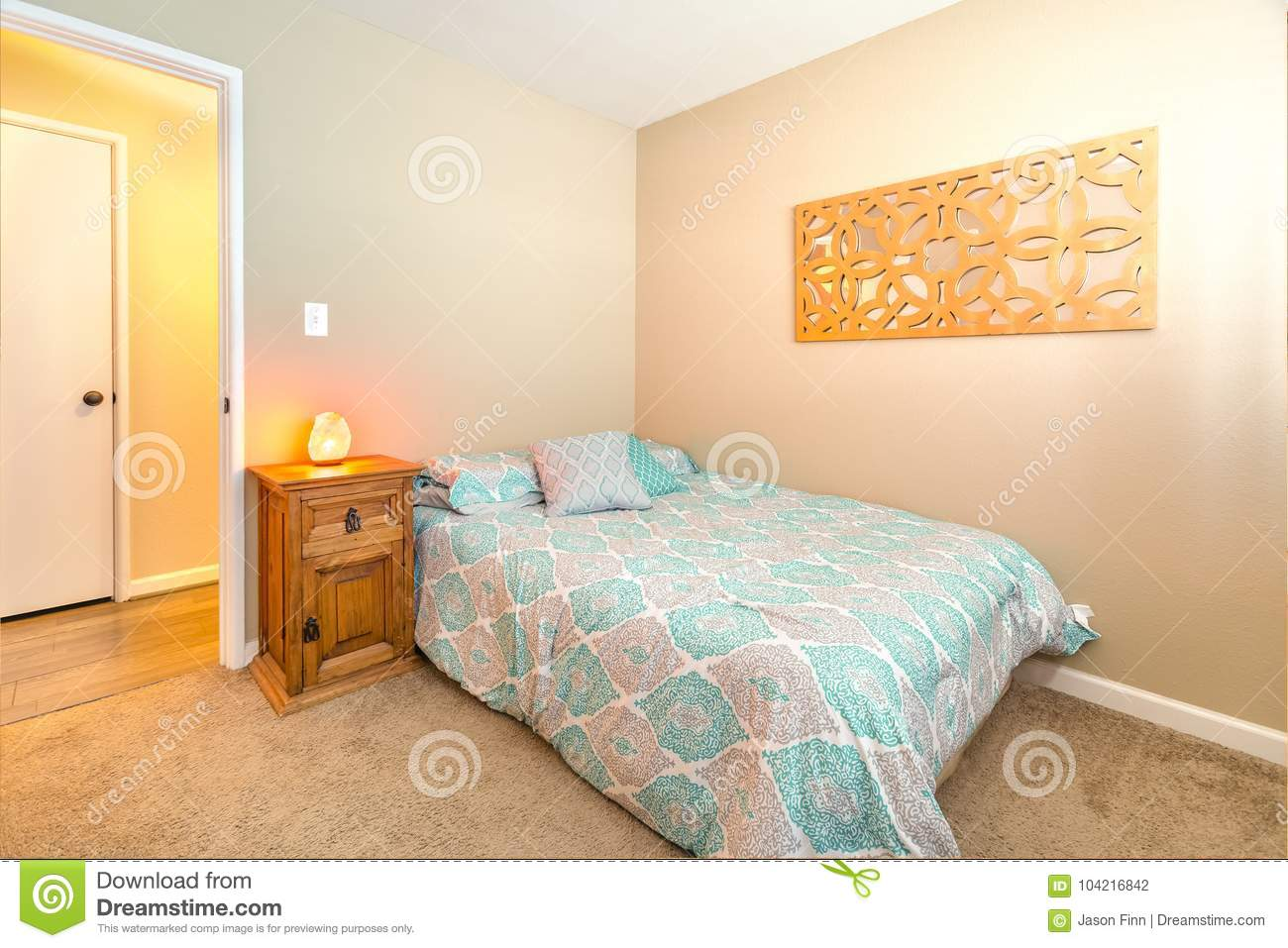 Cozy Bedroom With Twin Bed Carpet And Himalayan Sea Salt Lamp O Stock Photo Image Of Design Colors 104216842