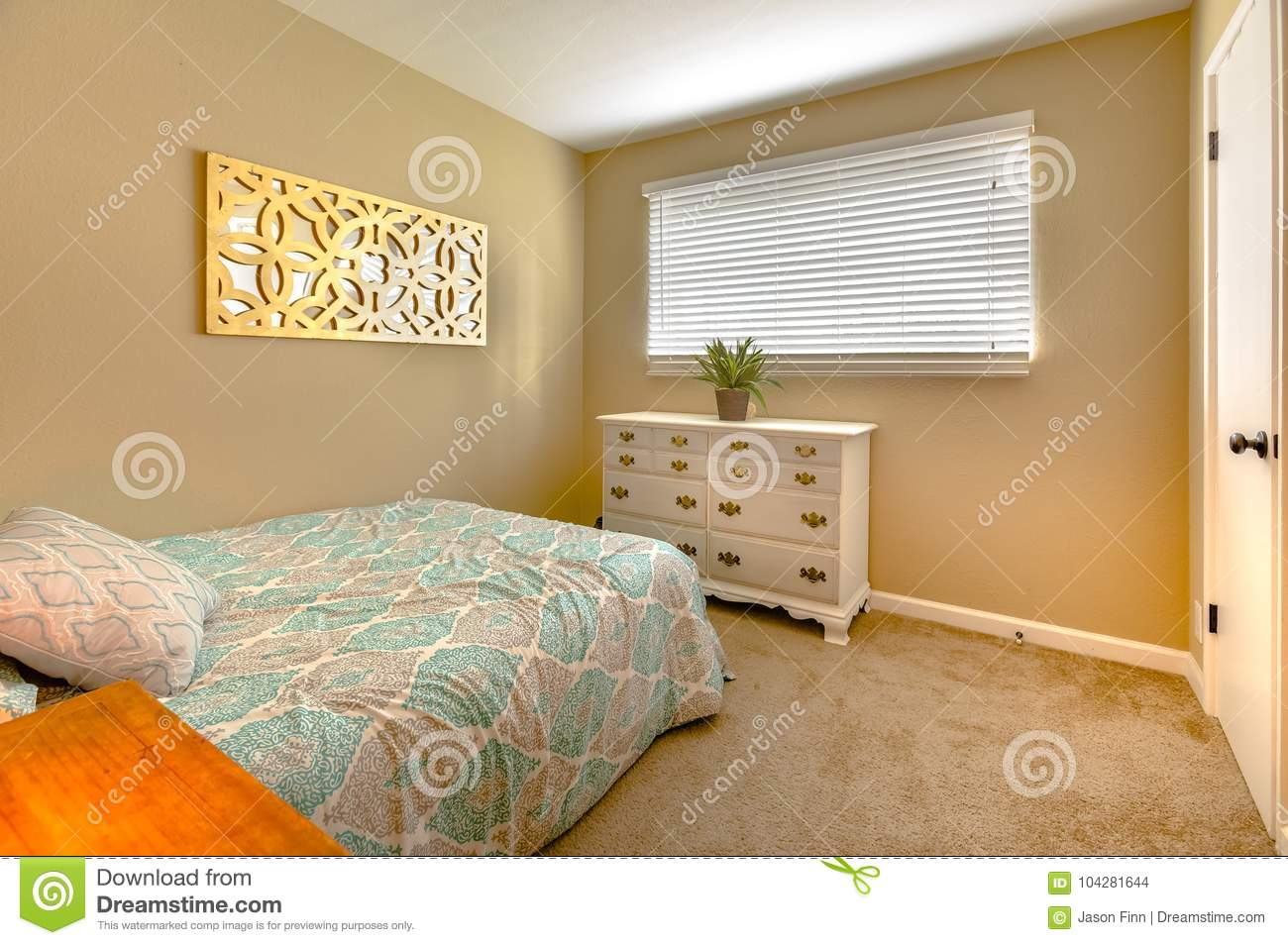 Cozy Bedroom With Twin Bed Carpet And Indoor Plant On The Dress Stock Photo Image Of Contemporary Doublebed 104281644