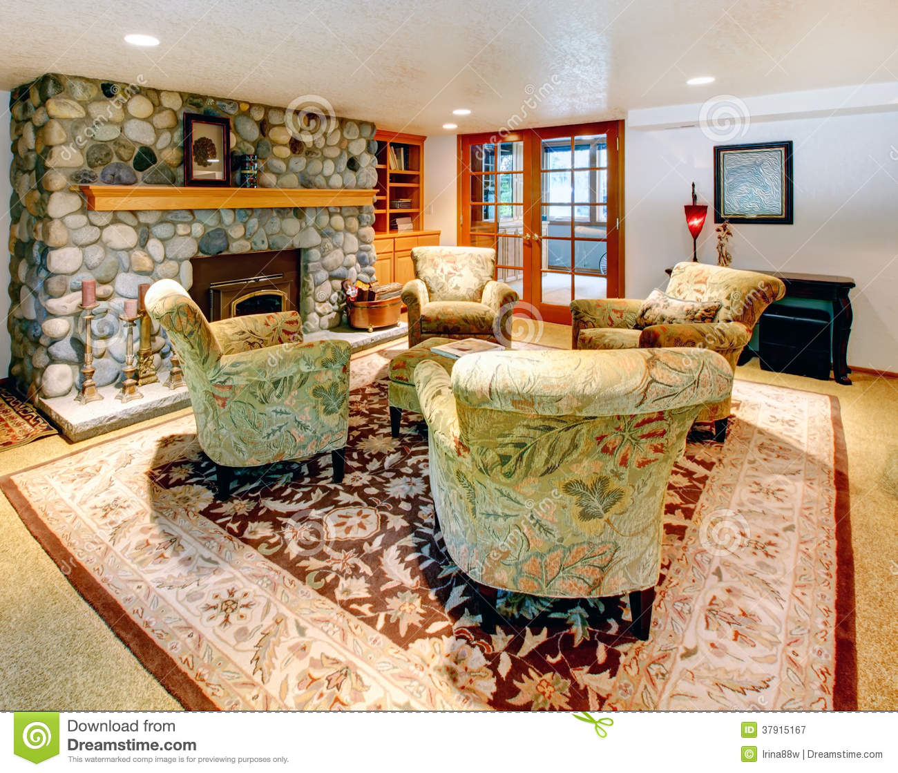 Large Living Room Chair Cozy Big Living Room With Rock Background Fireplace Royalty Free