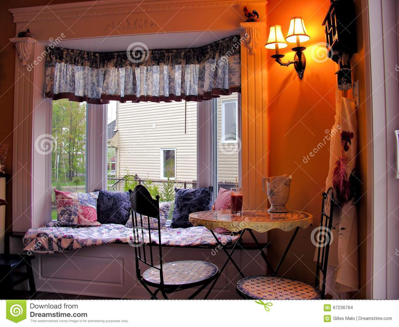 Cozy Breakfast Nook In Bright Bay Window Stock Photo Image Of Curtain Estate 67236794