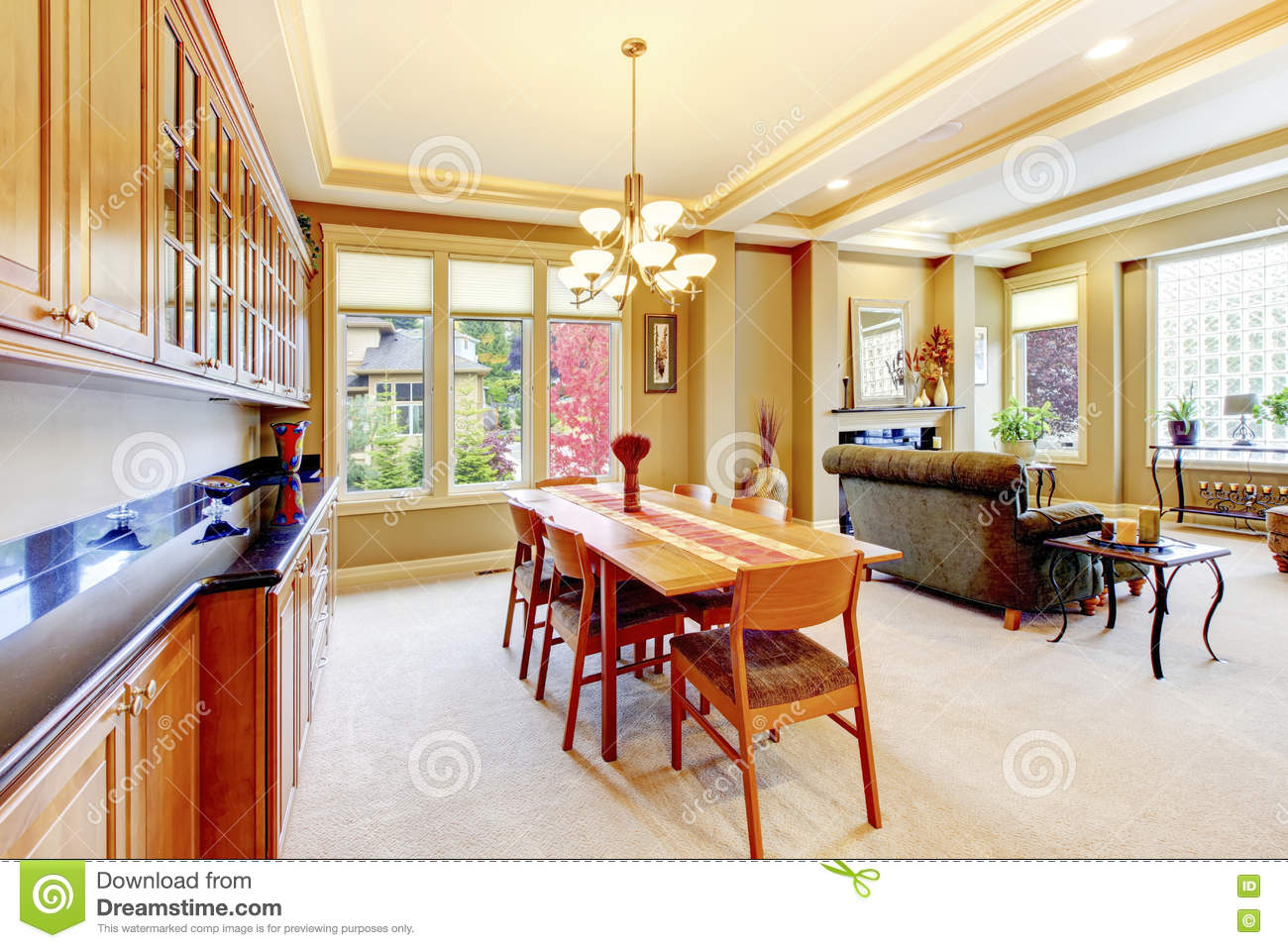 Cozy Bright Dining Room Connected With Living Room And Lots