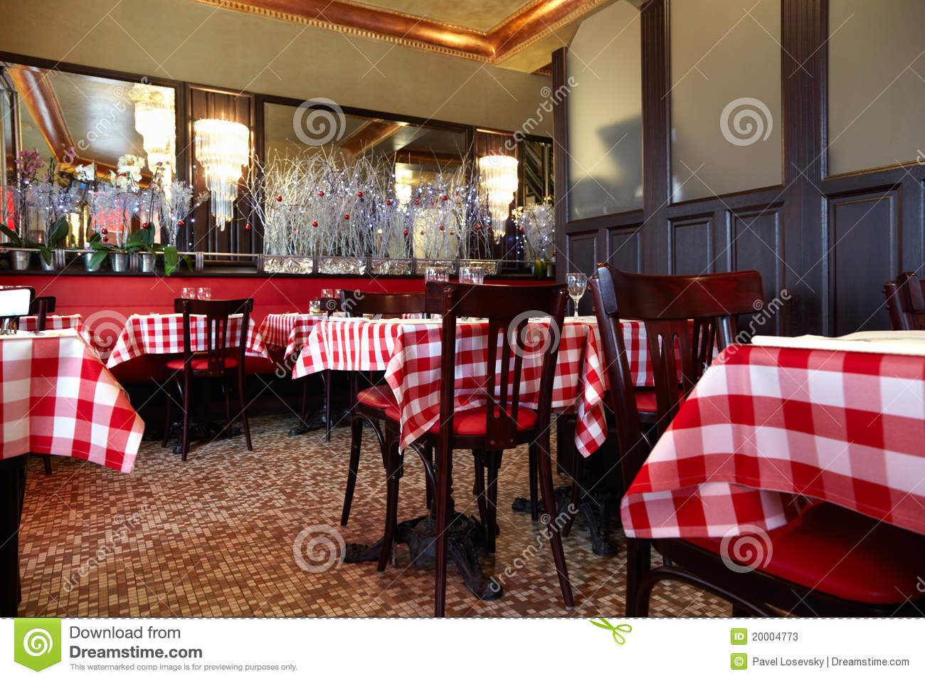 Cozy Cafe With Tables Covered With Tablecloths Stock
