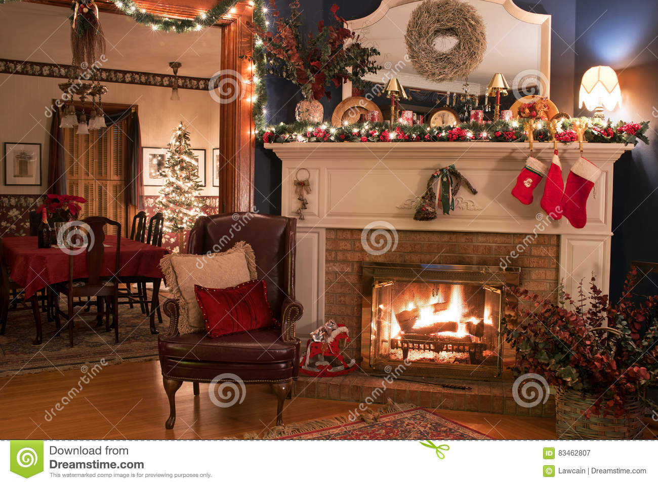 cozy christmas fireplace setting stock photo image 83462807