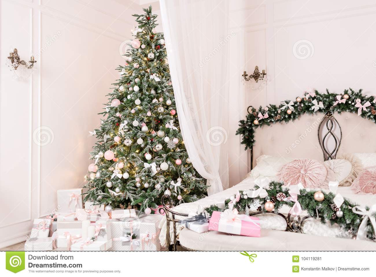 Cozy Christmas Home Interior New Year Decoration Bright Bedroom Room With Large Double Bed