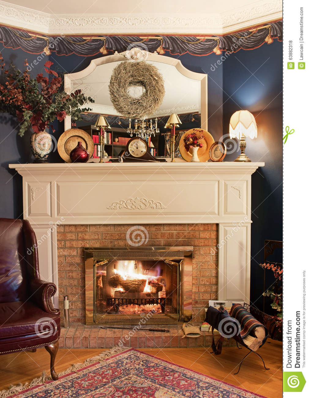 Cozy corner fireplace hdr stock photo image 63882318 for Victorian corner fireplace