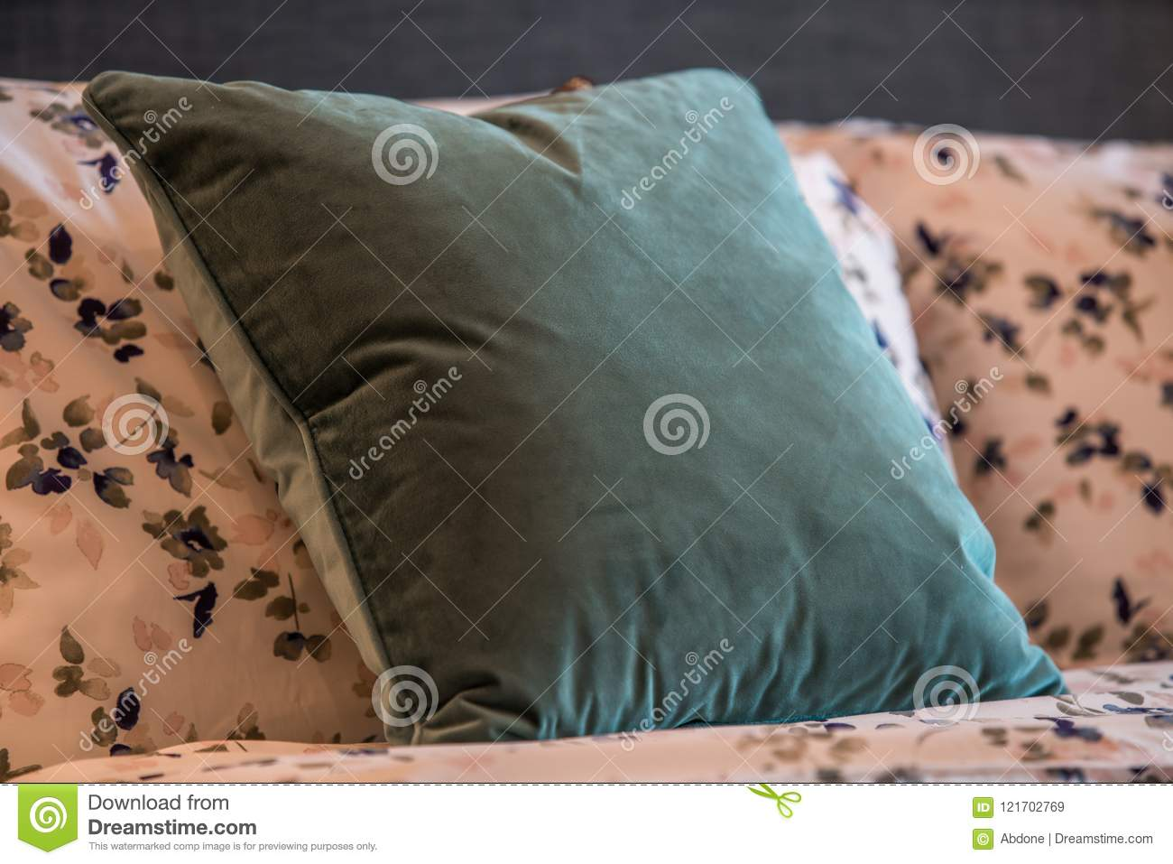 Cozy Decorative Pillows On A Bed Stock Image Image Of Armchair Pillows 121702769