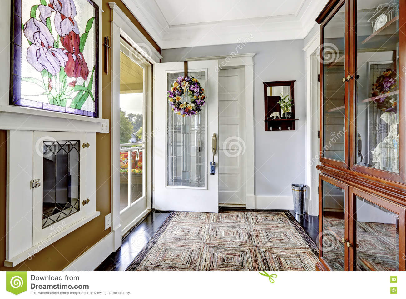 cozy entry room in small craftsman house. stock photo - image